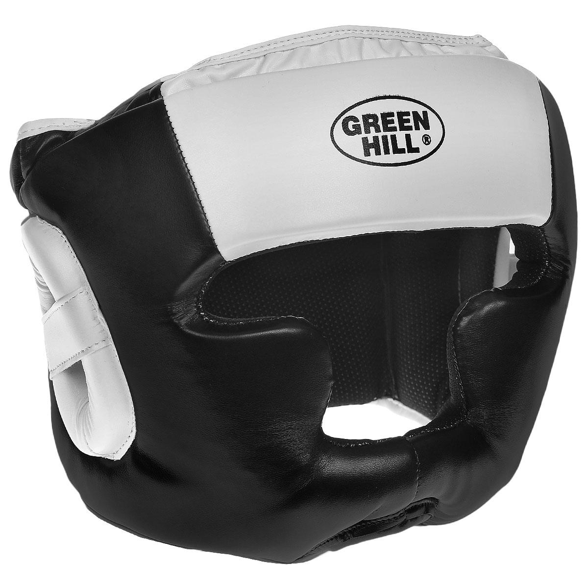 Шлем тренировочный Green Hill Poise, цвет: черный, белый. Размер S (48-53 см)HGP-9015Тренировочный шлем Green Hill Poise предназначен для защиты головы от повреждений во время занятий боксом и кикбоксингом. Выполнен из высококачественной искусственной кожи с плотным наполнителем внутри, внутренняя поверхность отделана тканевой пористой подкладкой. Шлем имеет усиленную защиту в области ушей, скул, подбородка и темени. Застежки-липучки на затылке крепко удерживают шлем на голове. Крепления регулируемые в ширину и по высоте, благодаря чему шлем можно подогнать четко под свой размер. Обеспечивает достаточную защиту и обзор во время поединка.