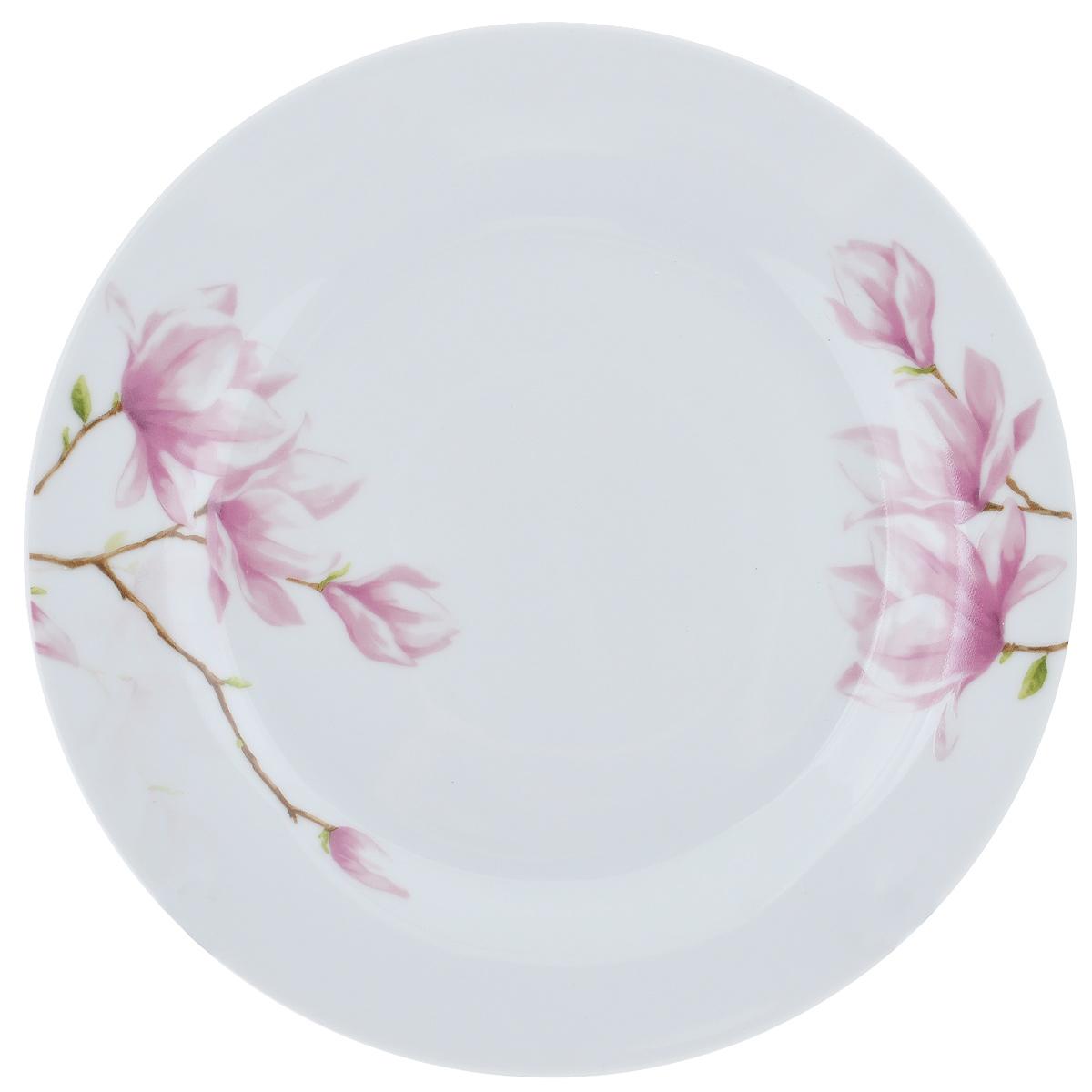Тарелка для горячего Ваниль, диаметр 23 см54 009312Тарелка Ваниль изготовлена из высококачественного фаянса, покрытого слоем сверкающей глазури. Предназначена для подачи вторых блюд. Изделие декорировано изящным изображением розовых цветов. Такая тарелка украсит сервировку стола и подчеркнет прекрасный вкус хозяйки.Можно мыть в посудомоечной машине и использовать в СВЧ. Диаметр тарелки: 23 см.