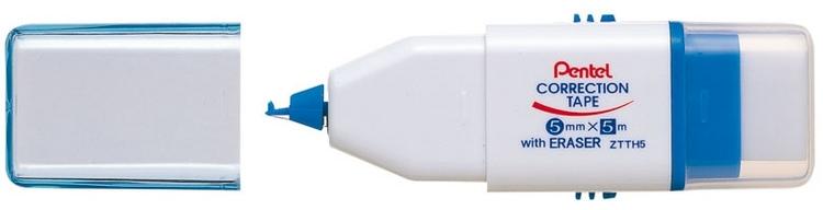 Корректирующая лента с ластиком Pentel. XZTTH580897ОФункциональная корректирующая лента и ластик 2 в 1 Pentel предназначены для корректировки записей. Лента легко наносится на поверхность ровной непрерывной линией, хорошо покрывает все виды чернил и совершенно незаметна на ксерокопиях. Основа корректора сухая, благодаря этому, на ней можно писать сразу после исправления. Лента поставляется в диспенсере, изготовленном из пластика. Есть возможность замены картриджа.