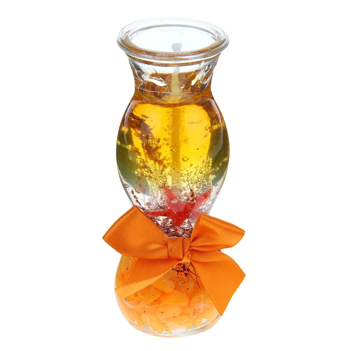 Свеча декоративная Sima-land Камушки, цвет: оранжевый, высота 11 смRG-D31SДекоративная свеча Sima-land Камушки изготовлена из геля и поставляется в подсвечнике в виде стеклянной вазочки оригинальной формы. Изделие оформлено камушками, морской звездой и текстильным бантом. Такая свеча может стать отличным подарком или дополнить интерьер вашей комнаты.
