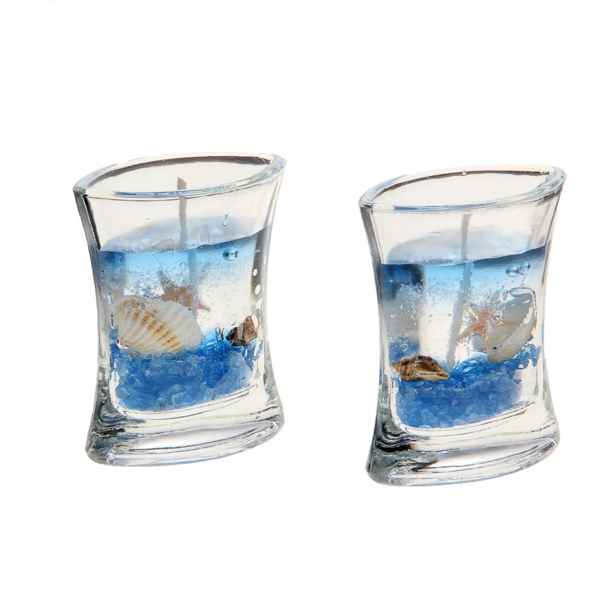 Набор декоративных свечей Sima-land Морское дно, цвет: голубой, прозрачный, 2 шт41619Набор Sima-land Морское дно, изготовленный из геля, состоит из двух декоративных свечей. Свечи поставляются в подсвечниках в виде стеклянных емкостей. Изделия оформлены ракушками и морскими звездами. Такой набор может стать отличным подарком или дополнить интерьер вашей комнаты.Размер свечи (по верхнему краю): 6,5 см х 4 см.