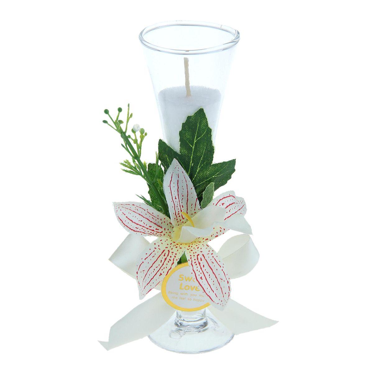 """Свеча Sima-land """"Орхидея"""", цвет: белый, высота 15,5 см"""