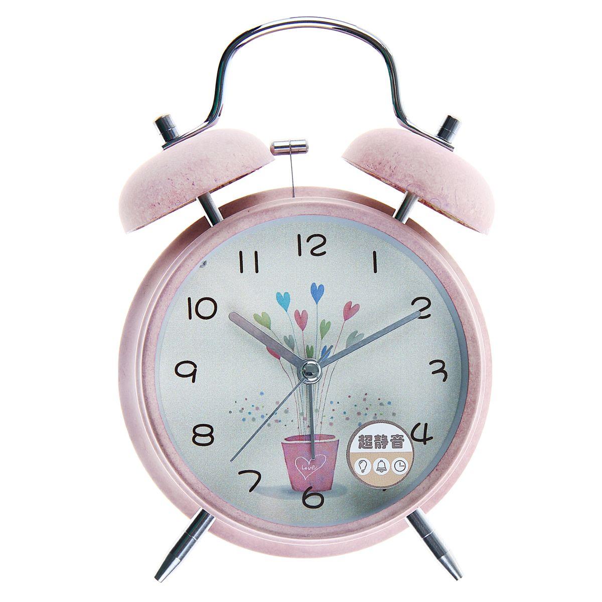 будильник d=11,5см 2 звоночка на циферблате Букет из сердечек, розовые 105642915117058Металл, стекло, пластик, от батареек НЕ в к-те