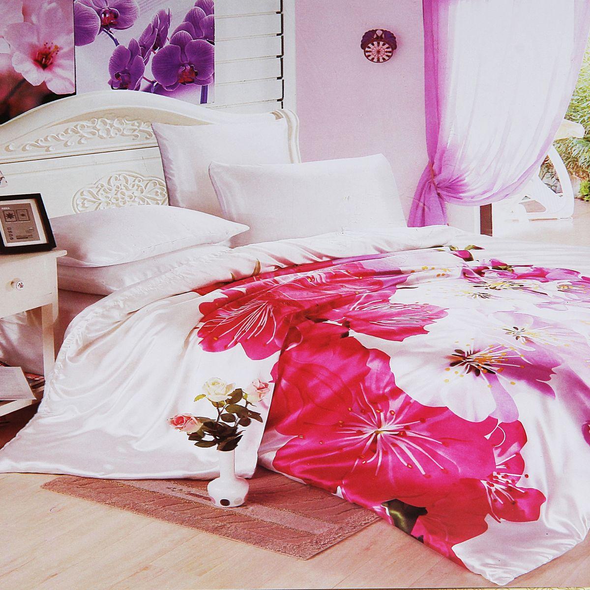 Комплект белья Этель Цветение, евро, наволочки 70x70, 50х70, цвет: розовый, белыйCA-3505Комплект постельного белья Этель Цветение состоит из пододеяльника на молнии, простыни и четырех наволочек.Удивительной красоты 3D рисунок, нанесенный на белье, сочетает в себе нежность и теплоту. Постельное белье Этель Цветение создано для романтичных натур, которые любят изысканный дизайн. Белье изготовлено из искусственного шелка, отвечающего всем необходимым нормативным стандартам.Шелковая ткань очень прочная и мягкая, ее особая структура делает пребывание в постели комфортным. Неоспоримым плюсом белья из такой ткани является легкость, оно не мнется и отлично впитывает влагу, обеспечивает хорошую циркуляцию воздуха. Ткань устойчива к воздействию света (не выцветает и не линяет), сохраняя первозданную яркость красок. При соблюдении рекомендаций по уходу белье выдерживает много стирок, не теряет свою прочность. Уникальная ткань обеспечивает легкую глажку.Приобретая комплект постельного белья Этель Цветение, вы можете быть уверены в том, что покупка доставит вам ивашим близким удовольствие и подарит максимальный комфорт.