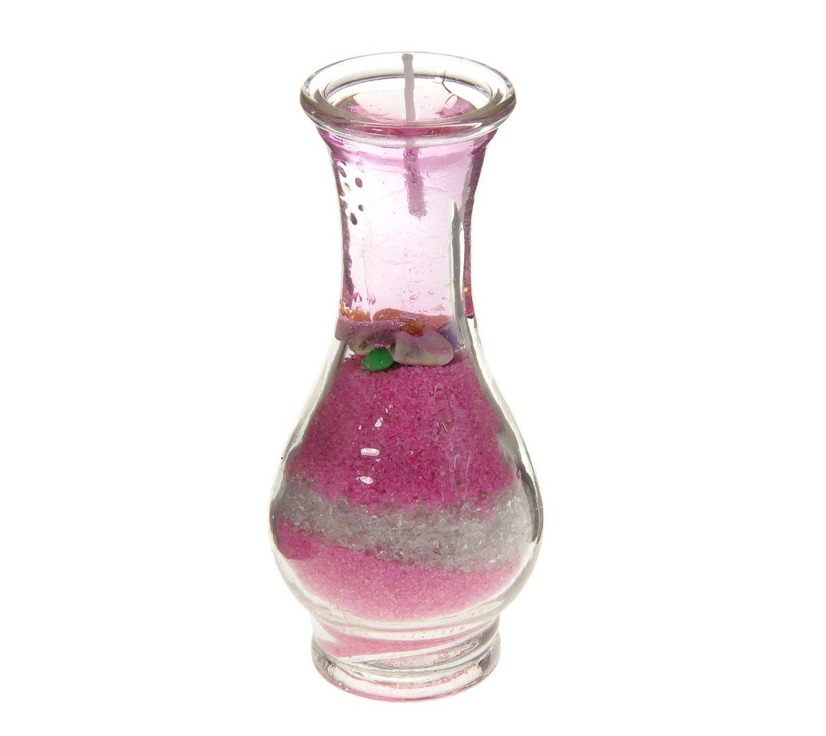 Свеча декоративная Sima-land Ваза с песком, цвет: розовый, высота 11 см28907 4Свеча Sima-land Ваза с песком изготовлена из геля ирасположена в подсвечнике, выполненном в виде стеклянной вазы, которая наполнена цветным песком. Изделие отличается оригинальным дизайном.Такая свеча может стать отличным подарком, а так же создаст незабываемую атмосферу уюта в вашем доме.