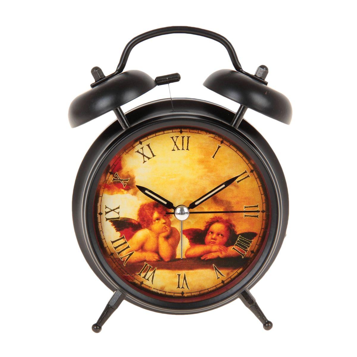 Часы-будильник Sima-land Ангелы Рафаэля. 669608MRC 4142 schwarzКак же сложно иногда вставать вовремя! Всегда так хочется поспать еще хотя бы 5 минут и бывает, что мы просыпаем. Теперь этого не случится! Яркий, оригинальный будильник Sima-land Ангелы Рафаэля поможет вам всегда вставать в нужное время и успевать везде и всюду.Корпус будильника выполнен из металла. Циферблат оформлен изображением ангелов по мотивам картин Рафаэля. Часы снабжены 4 стрелками (секундная, минутная, часовая и для будильника). На задней панели будильника расположен переключатель включения/выключения механизма, а также два колесика для настройки текущего времени и времени звонка будильника. Изделие снабжено подсветкой, которая включается нажатием на кнопку с задней стороны корпуса. Часовая и минутная стрелки покрыты люминесцентным раствором, светящимся в темноте. Пользоваться будильником очень легко: нужно всего лишь поставить батарейку, настроить точное время и установить время звонка. Необходимо докупить 1 батарейку типа АА (не входит в комплект).