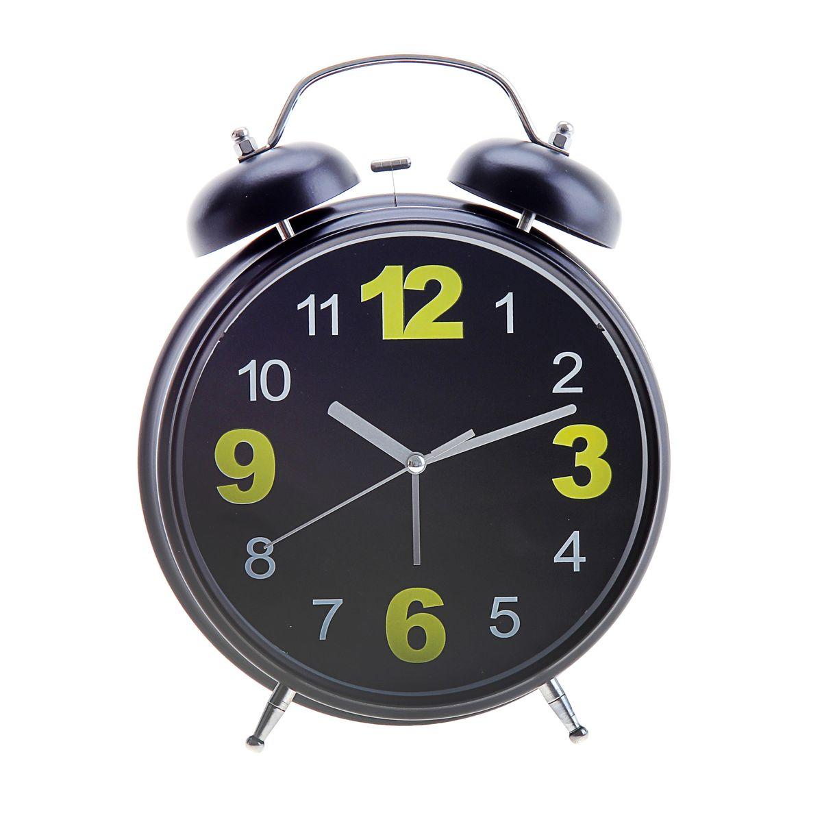 Часы-будильник Sima-land, цвет: черный. 669611VT-6606(BK)Как же сложно иногда вставать вовремя! Всегда так хочется поспать еще хотя бы 5 минут и бывает, что мы просыпаем. Теперь этого не случится! Яркий, оригинальный будильник Sima-land поможет вам всегда вставать в нужное время и успевать везде и всюду.Корпус будильника выполнен из металла. Циферблат имеет индикацию арабскими цифрами. Часы снабжены 4 стрелками (секундная, минутная, часовая и для будильника). На задней панели будильника расположен переключатель включения/выключения механизма, а также два колесика для настройки текущего времени и времени звонка будильника. Также будильник оснащен кнопкой, при нажатии которой подсвечивается циферблат.Пользоваться будильником очень легко: нужно всего лишь поставить батарейки, настроить точное время и установить время звонка. Необходимо докупить 3 батарейки типа АА (не входят в комплект).
