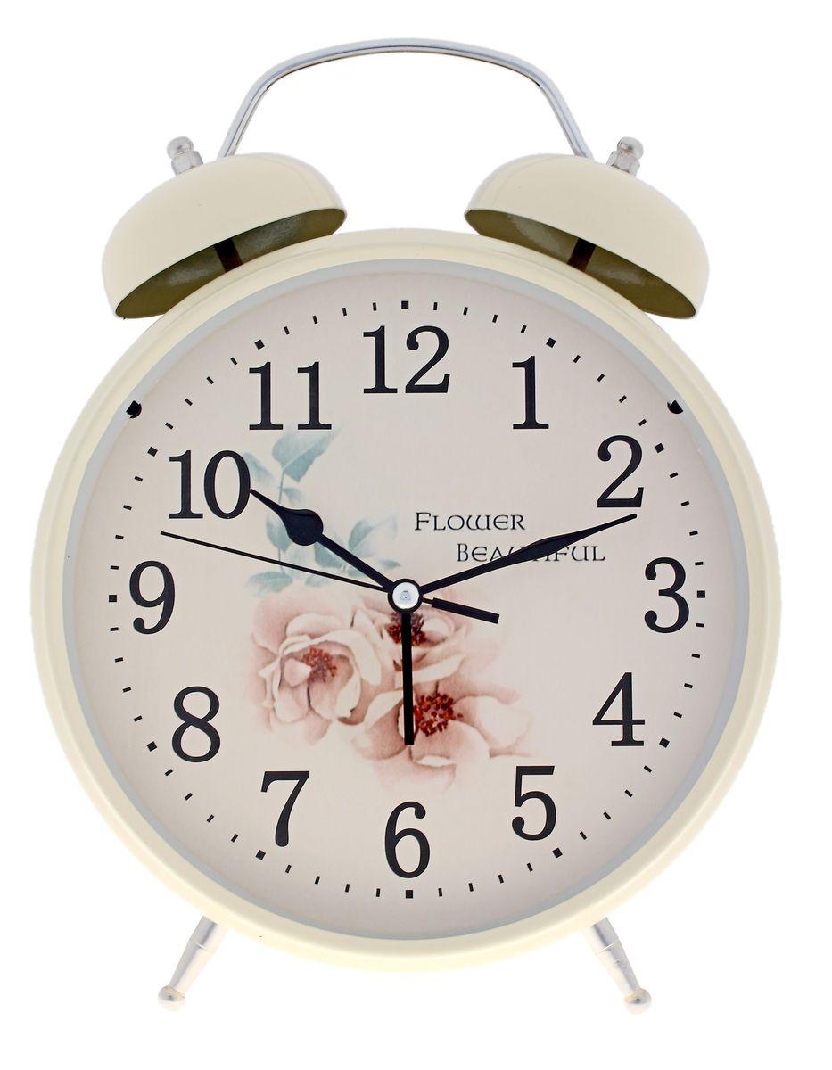 Часы-будильник Sima-land Flower Beautiful, цвет: кремовый, диаметр 20 см186715Часы-будильник Sima-land Flower Beautiful - это невероятных размеров устройство, созданное специально для тех, кто с трудом просыпается по утрам!Изделие обладает оригинальным интересным дизайном. Такой будильник станет изюминкой вашего интерьера.Будильник работает от 3 батареек типа АА 1,5 В (в комплект не входят). На задней панели будильника расположены переключатель включения/выключения механизма, два поворотных рычага для настройки текущего времени и установки будильника, а также кнопка для включения подсветки циферблата.Диаметр циферблата: 20 см.