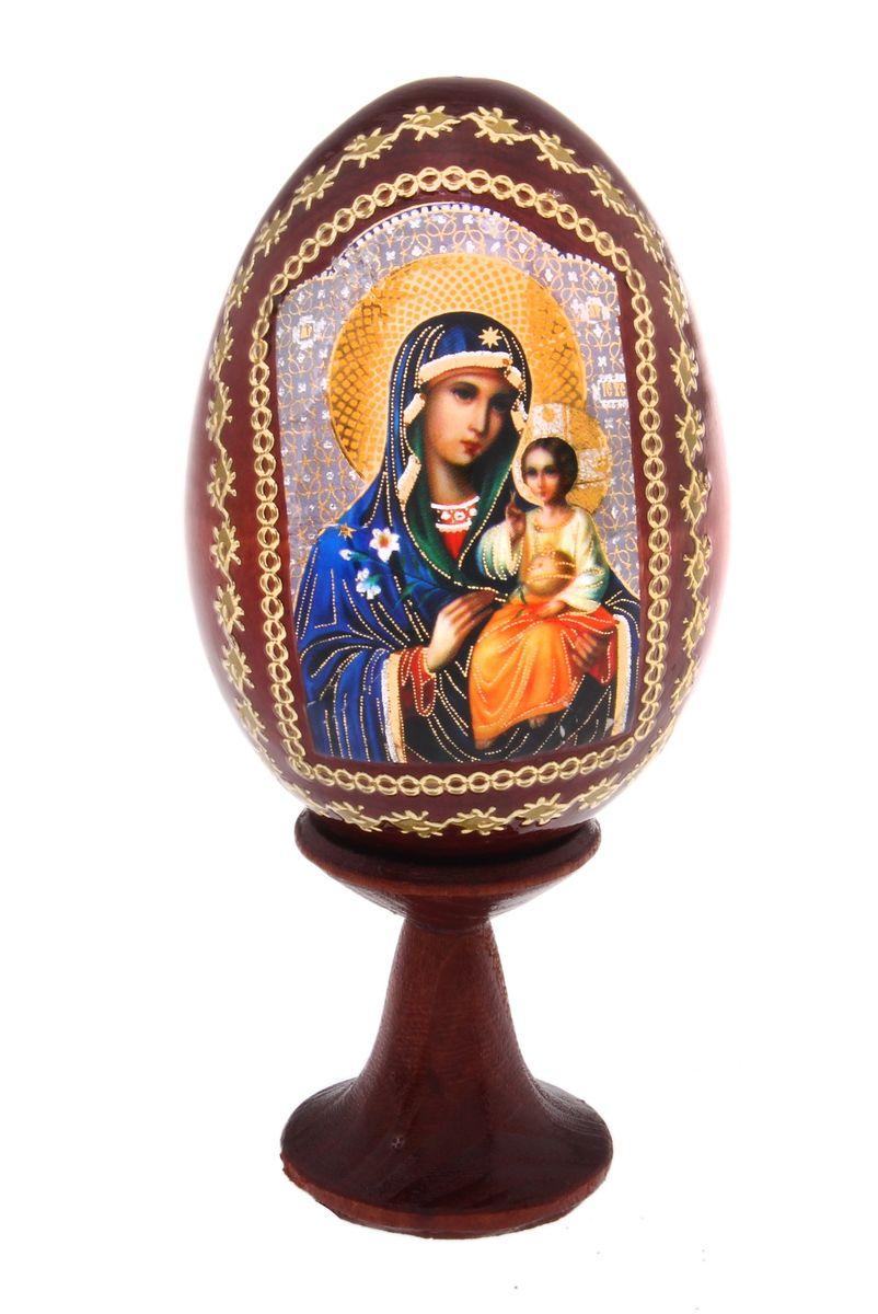 Яйцо декоративное БТМ Неувядаемый цвет, №4, на подставке691101Декоративное яйцо БТМ Неувядаемый цвет изготовлено из натурального дерева. Яйцо оформлено изображением иконы и золотистыми узорами. Изделие располагается на деревянной подставке. Декоративное яйцо принесет в ваш дом ощущение торжества, душевного уюта и станет идеальным подарком на Пасху.