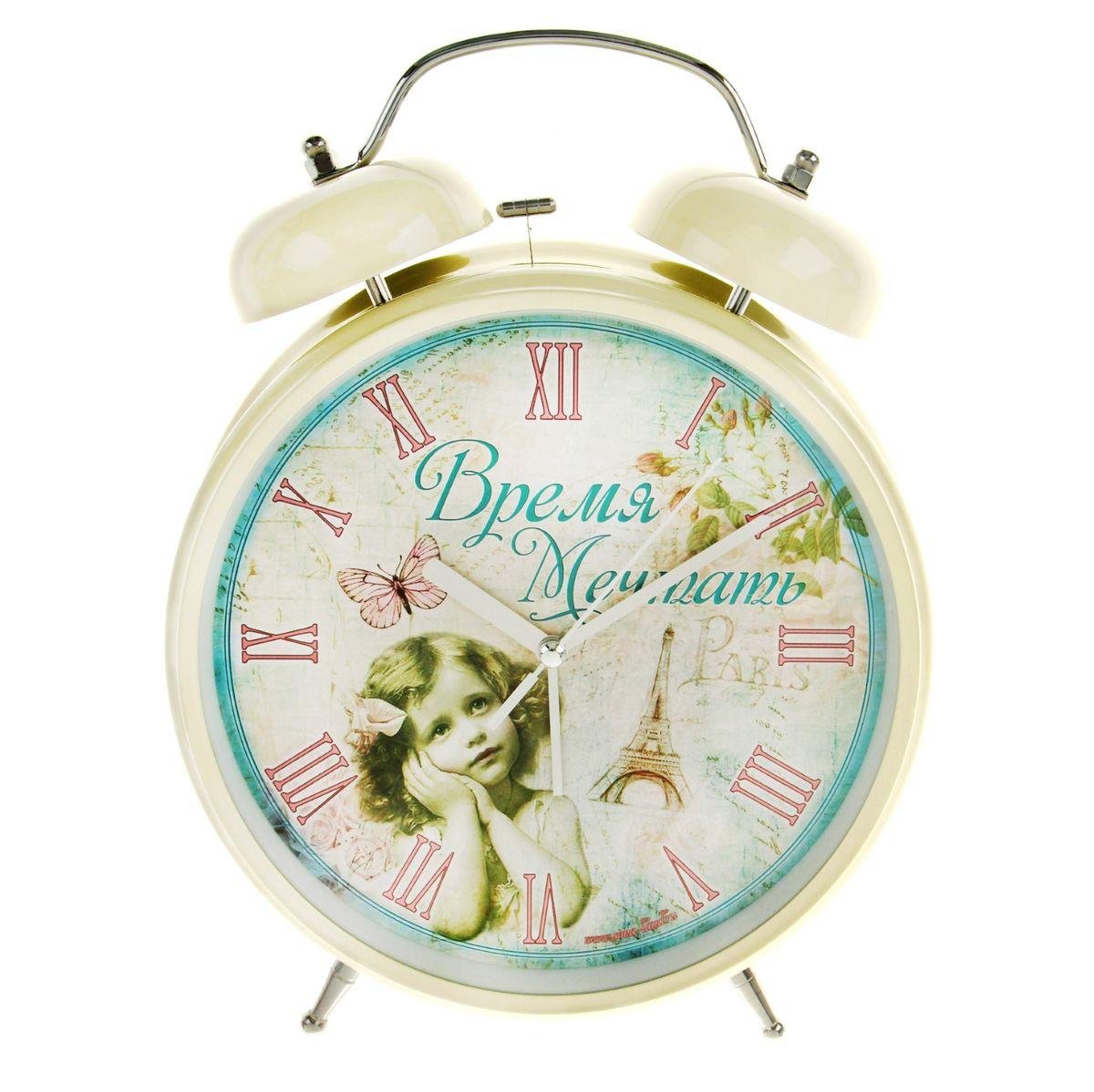 Часы-будильник Sima-land Время мечтать, цвет: бежевый, диаметр 20 смVT-3525(W)Часы-будильник Sima-land Время мечтать - это невероятных размеров устройство, созданное специально для тех, кто с трудом просыпается по утрам!Изделие обладает оригинальным дизайном. Такой будильник станет изюминкой вашего интерьера.Будильник работает от 2 батареек типа АА 1,5 В (в комплект не входят). На задней панели будильника расположены переключатель включения/выключения механизма, два поворотных рычага для настройки текущего времени и установки будильника, а также кнопка для включения подсветки циферблата.Диаметр циферблата: 20 см.