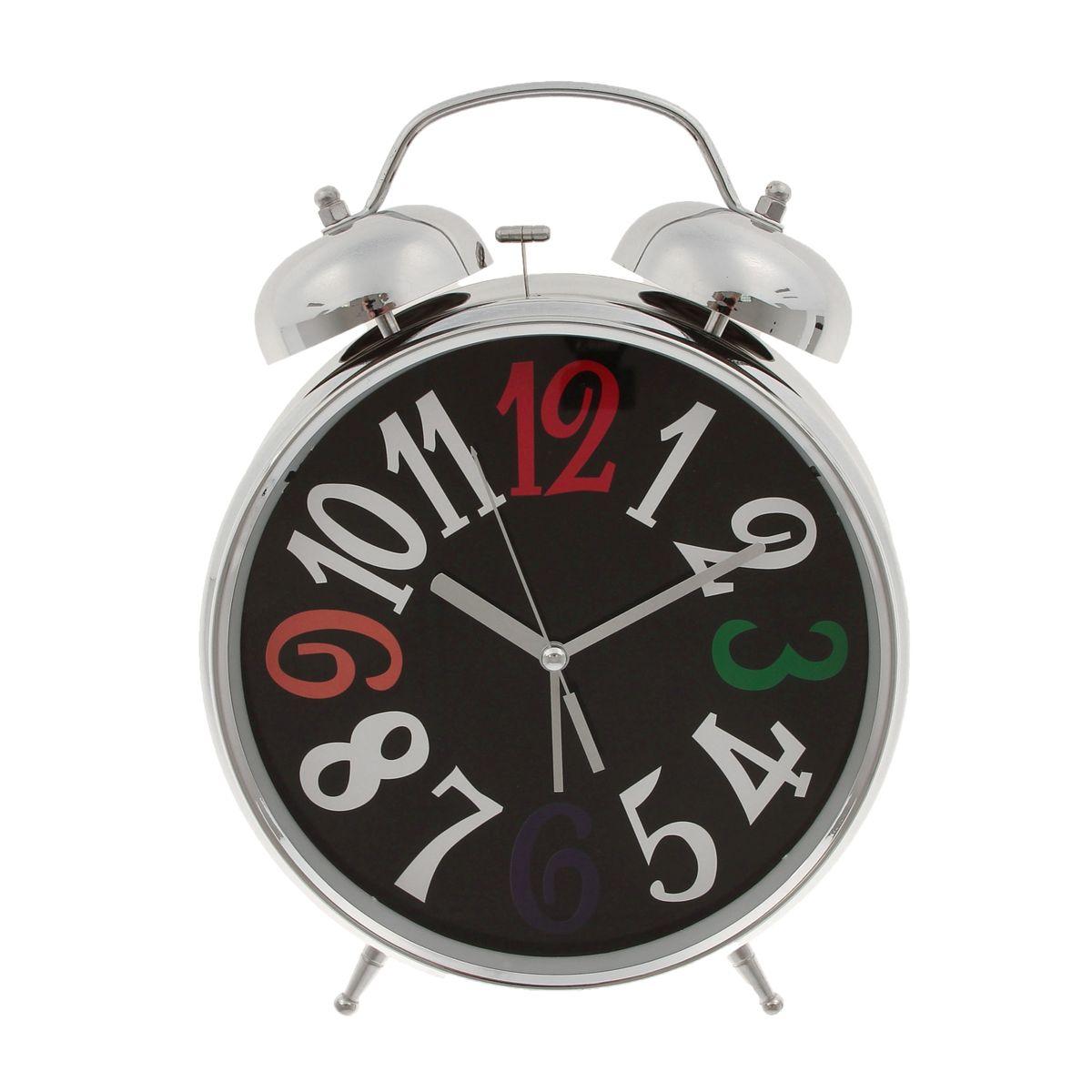 будильник большой хром с подсветкой 3,6,9,12 разноцветные 2 звоночка d23см 72087292266Металл,стекло