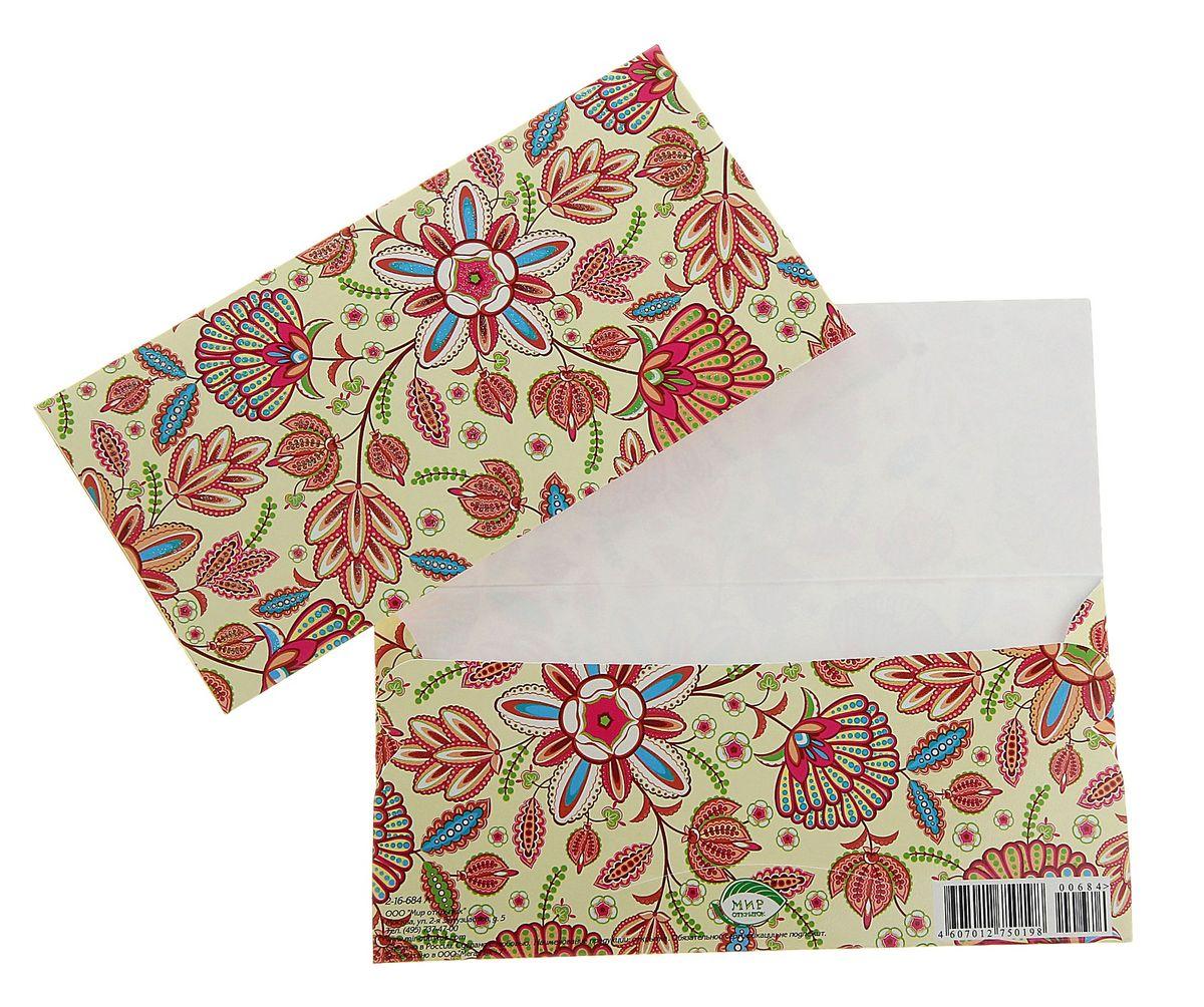 Конверт для денег Цветы. 778395778395Подарочный конверт для денег Цветы выполнен из плотной бумаги. Конверт украшен красочным принтом в виде цветов. Внутри есть отделение для денег.Такой конверт послужит замечательным оформлением вашего подарка.