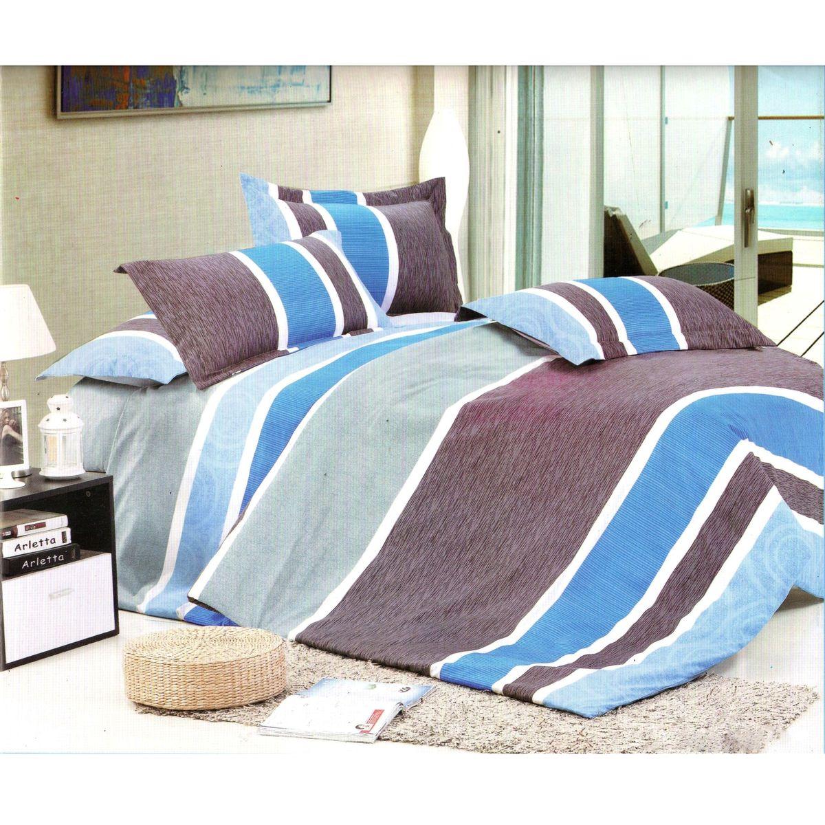 Комплект белья Этель Параллель, семейный, наволочки 70x70, цвет: серый, белый, голубой68/5/3Комплект постельного белья Этель Параллель состоит из двух пододеяльников на молнии, простыни и двух наволочек. Постельное белье оформлено ярким принтом в полоску и имеет изысканный внешний вид. Белье изготовлено из поликоттона отвечающего всем необходимым нормативным стандартам. Поликоттон - это ткань из экологически чистых материалов (50% хлопка, 50% полиэстера). Неоспоримым плюсом белья из такой ткани является мягкостьи легкость, она прекрасно пропускает воздух, приятна на ощупь, не образует катышков на поверхности и за ней легко ухаживать. При соблюдениирекомендаций по уходу, это белье выдерживает много стирок, не линяети не теряет свою первоначальную прочность. Уникальная ткань обеспечивает легкую глажку.Приобретая комплект постельного белья Этель Параллель, вы можете быть уверенны в том, что покупка доставит вам ивашим близким удовольствие и подарит максимальный комфорт.