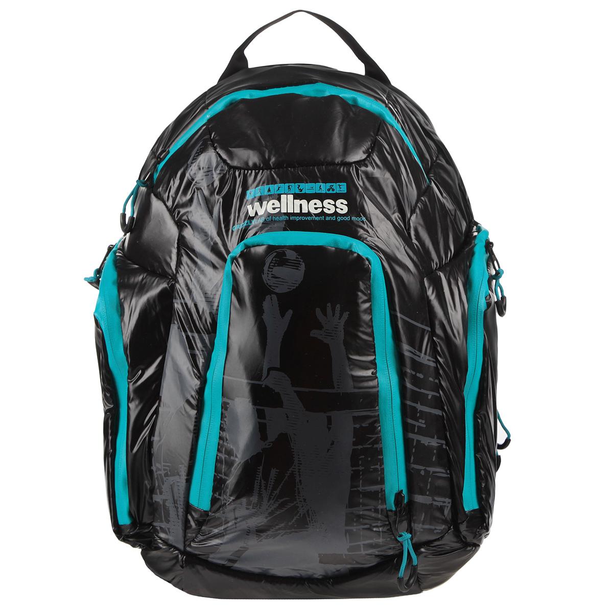 Школьный ранец Grizzly, цвет: синий, черный. RU-417-1/372523WDСтильный молодежный рюкзак Grizzly выполнен из нейлона черного цвета и оформлен оригинальным принтом. Рюкзак оснащен одним большим отделением, закрывающимся на застежку-молнию. На передней стенке расположено 2 кармана, закрывающихся на застежки-молнии. По бокам 2 объемных кармана с застежками-молниями. Внутри расположен карман. Рюкзак оснащен лямками, мягкой спинкой и текстильной ручкой для удобной переноски.