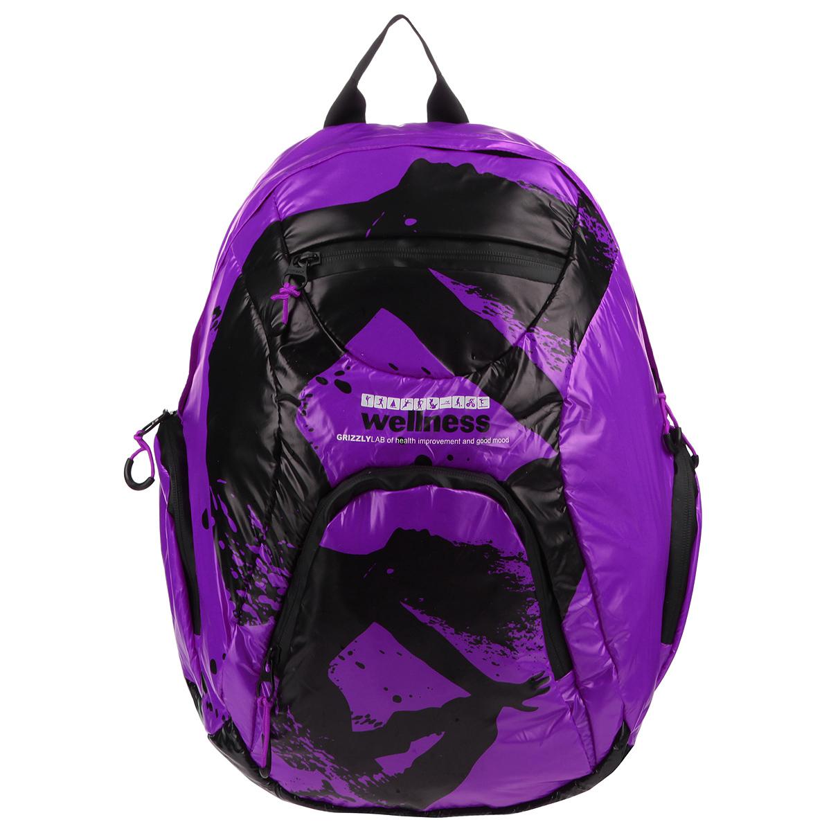 Рюкзак городской Grizzly, цвет: фиолетовый, черный. RD-418-1/4RD-418-1/4Стильный рюкзак Grizzly выполнен из нейлона фиолетового цвета и оформлен черным оригинальным принтом. Рюкзак имеет одно отделение, закрывающееся на застежку-молнию с двумя бегунками.Внутри отделения имеется большой врезной карман на молнии. На лицевой стороне расположены врезной и накладной карманы, так же на молнии. Внутри накладного кармана имеются открытый карман и карман-сетка на молнии.По бокам рюкзак снабжен двумя накладными кармашками на молнии.Рюкзак оснащен плечевыми лямками регулируемой длины из нейлона и короткой ручкой. Стильный рюкзак эффектно дополнит ваш яркий образ.