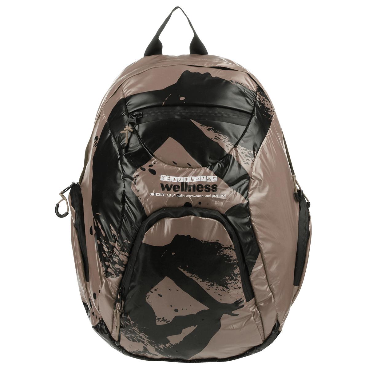 Рюкзак городской Grizzly, цвет: бежевый, черный. RD-418-1/3Z90 blackСтильный рюкзак Grizzly выполнен из нейлона бежевого цвета и оформлен черным оригинальным принтом. Рюкзак имеет одно отделение, закрывающееся на застежку-молнию с двумя бегунками.Внутри отделения имеется большой врезной карман на молнии. На лицевой стороне расположены врезной и накладной карманы, так же на молнии. Внутри накладного кармана имеются открытый карман и карман-сетка на молнии.По бокам рюкзак снабжен двумя накладными кармашками на молнии.Рюкзак оснащен плечевыми лямками регулируемой длины из нейлона и короткой ручкой. Стильный рюкзак эффектно дополнит ваш яркий образ.