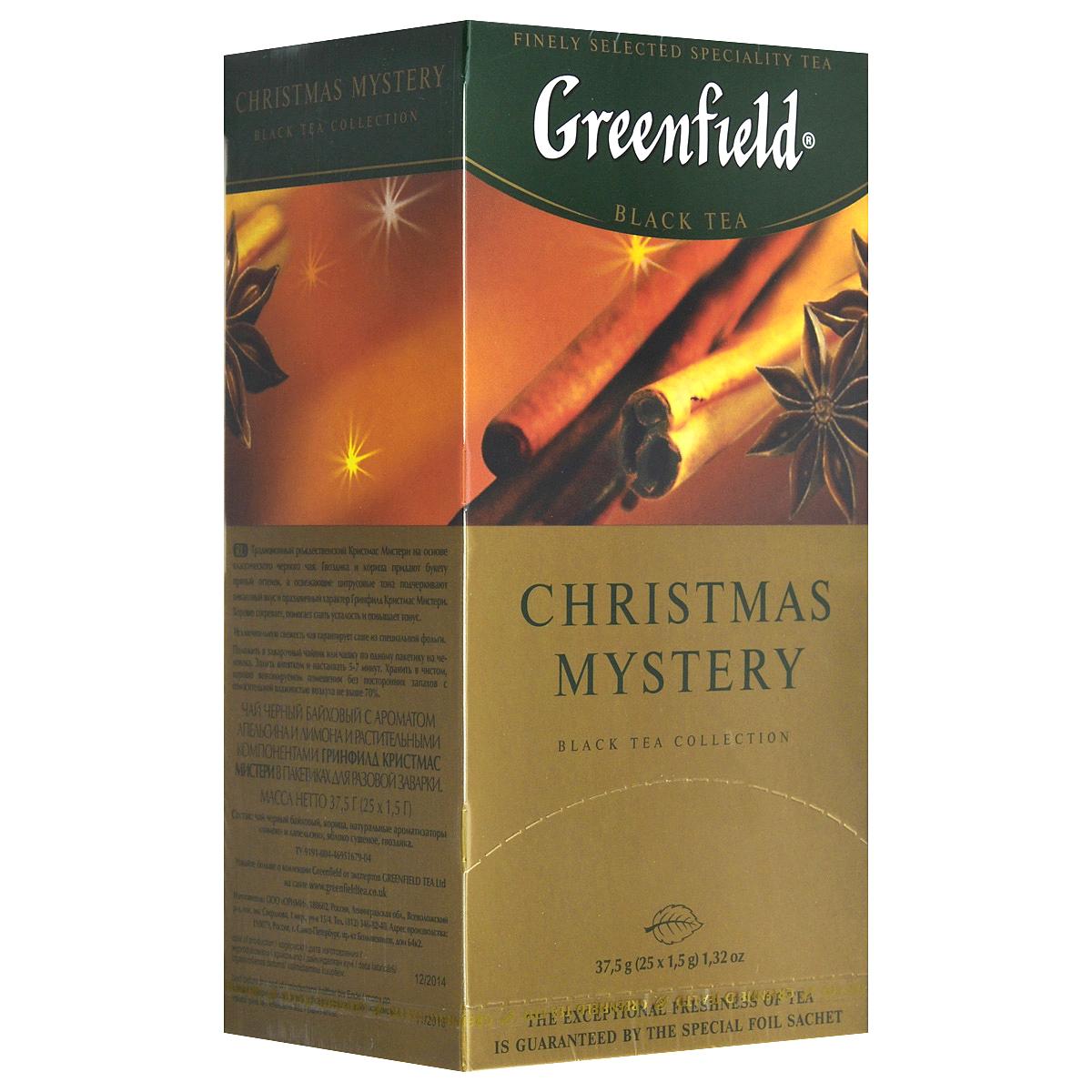 Greenfield Christmas Mystery черный чай в пакетиках, 25 шт0120710Традиционный рождественский Greenfield Christmas Mystery на основе классического черного чая. Гвоздик и корица придают букету пряный оттенок, а освежающие цитрусовые тона подчеркивают пикантный вкус и праздничный характер Greenfield Christmas Mystery. Хорошо согревает, помогает снять усталость и повышает тонус.