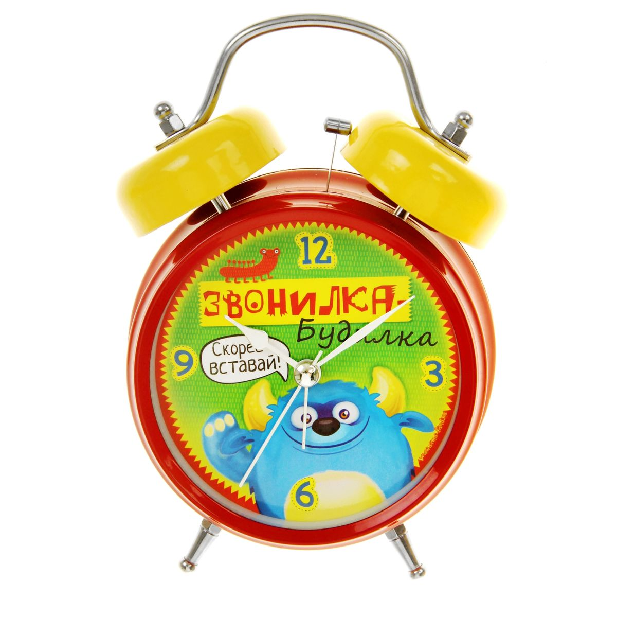 Часы-будильник Sima-land Звонилка-будилкаAJ3400/12Как же сложно иногда вставать вовремя! Всегда так хочется поспать еще хотя бы 5 минут и бывает, что мы просыпаем. Теперь этого не случится! Яркий, оригинальный будильник Sima-land Звонилка-будилка поможет вам всегда вставать в нужное время и успевать везде и всюду.Корпус будильника выполнен из металла. Циферблат оформлен изображением забавного монстрика и надписью: Звонилка-будилка, имеет индикацию арабскими цифрами. Часы снабжены 4 стрелками (секундная, минутная, часовая и для будильника). На задней панели будильника расположен переключатель включения/выключения механизма, а также два колесика для настройки текущего времени и времени звонка будильника. Пользоваться будильником очень легко: нужно всего лишь поставить батарейки, настроить точное время и установить время звонка. Необходимо докупить 2 батарейки типа АА (не входят в комплект).