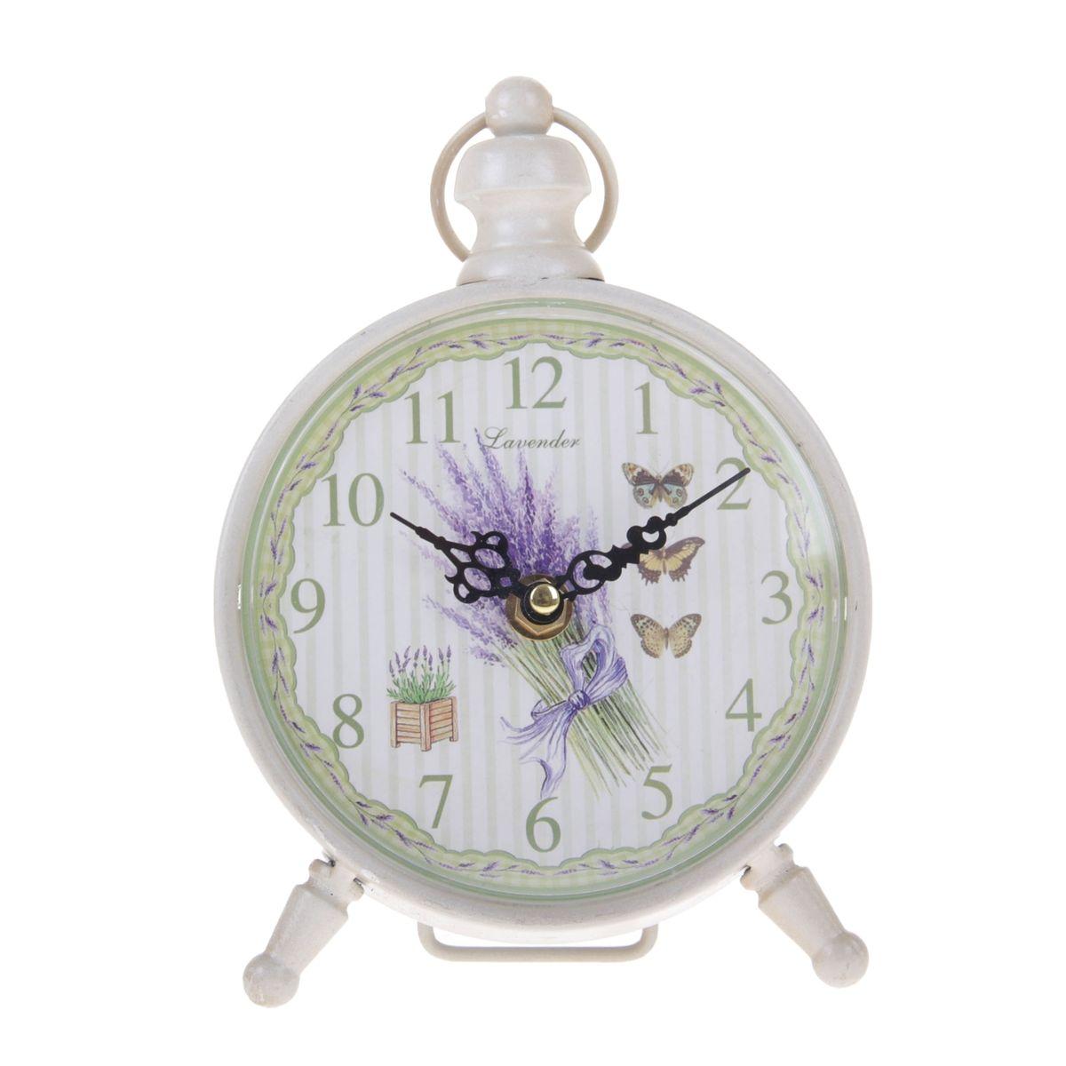 Часы настольные Sima-land Лаванда и бабочки300074_ежевикаНастольные часы Sima-land Лаванда и бабочки станут оригинальным элементом декора в доме или офисе. Часы, изготовленные из высококачественного металла и пластика, выполнены в виде будильника. Циферблат круглой формы, имеет крупные арабские цифры. Часы имеют две стрелки - часовую и минутную. Изделие располагается на металлических ножках.Настольные часы Sima-land Лаванда и бабочки станут не только оригинальным украшением стола, но и прекрасным подарком, который обязательно понравится получателю. Часы работают от одной батарейки с напряжением 1,5 V (в комплект не входит).Диаметр циферблата: 12,5 см.Общий размер часов: 20 см х 7 см х 18,5 см.