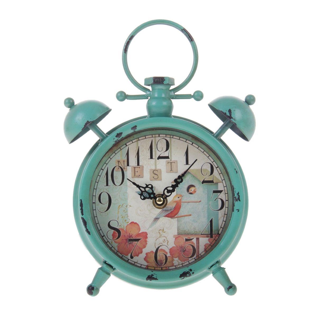 Часы настольные Sima-land Скворечник, в виде будильника, цвет: бирюзовый, диаметр 12,5 смRRM116-rНастольные часы Sima-land Скворечник своим эксклюзивным дизайном подчеркнут оригинальность интерьера вашего дома. Изделие выполнено в форме будильника, оснащено ножками, ручкой для переноски и двумя декоративными звоночками. Часы изготовлены из металла и украшены изящным изображением птиц в скворечнике. Имеют две стрелки - часовую и минутную. Циферблат оформлен крупными арабскими цифрами и защищен стеклом.Настольные часы Sima-land Скворечник станут прекрасным аксессуаром для вашего дома, либо прекрасным подарком, который обязательно понравится получателю. Часы работают от 1 батарейки типа АА (в комплект не входит).
