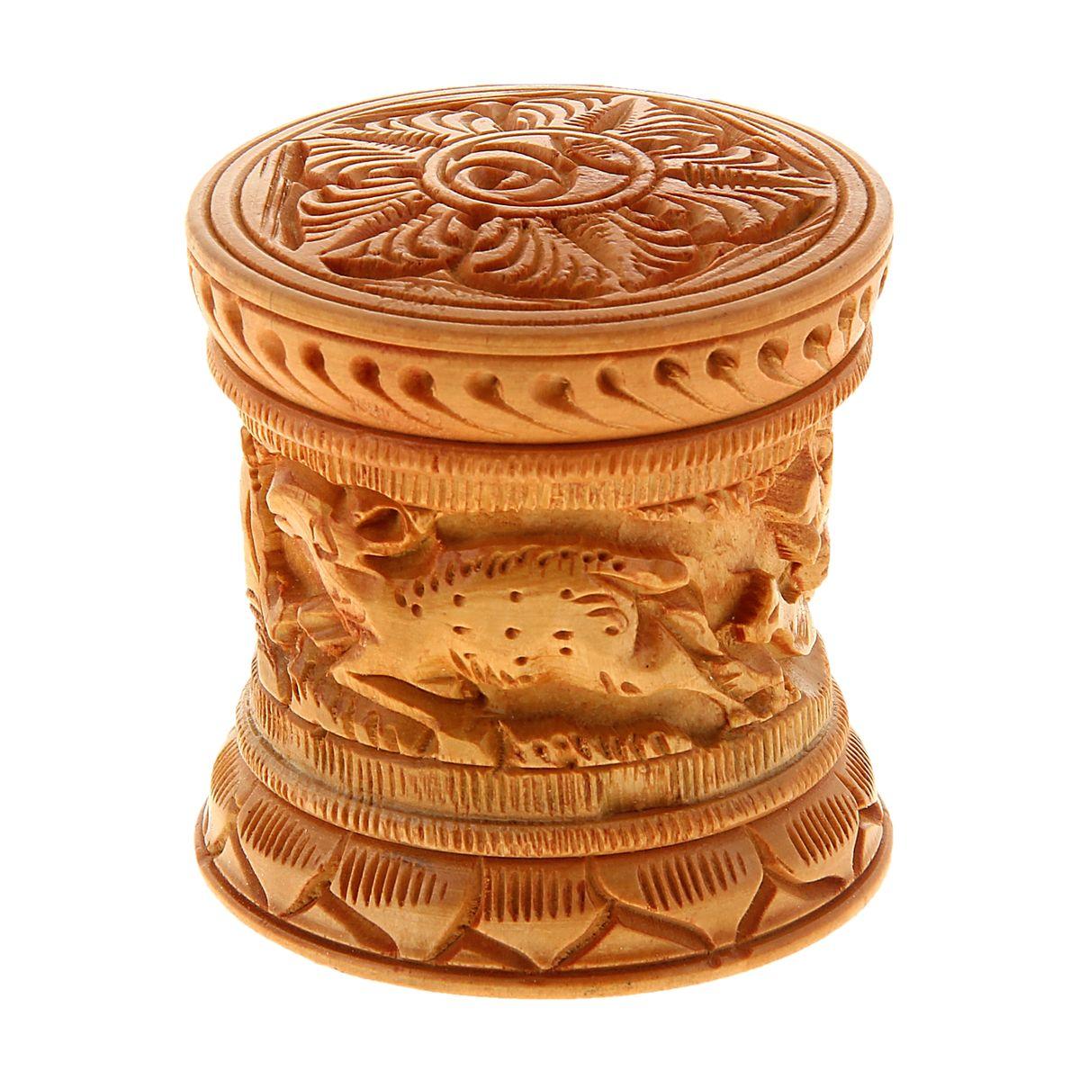 Шкатулка деревянная Резной узор, 6 см х 6 см х 6 см. 841018RG-D31SДерево