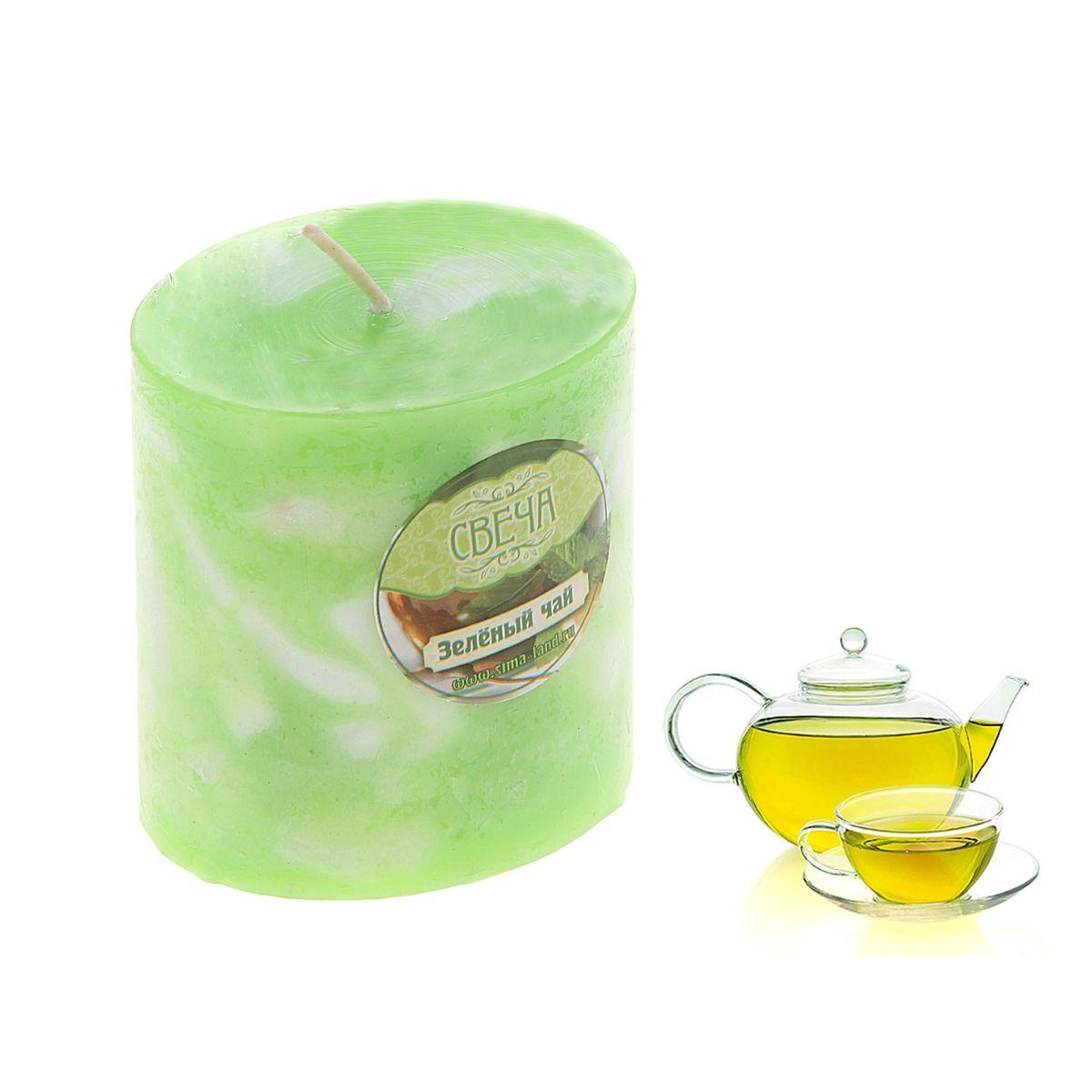"""Свеча ароматизированная Sima-land """"Слияние"""", с ароматом зеленого чая, цвет: салатовый, белый, высота 7 см"""