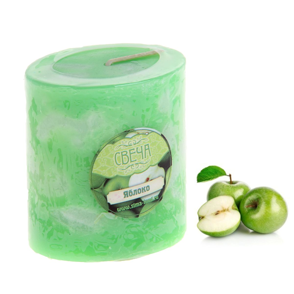 Свеча ароматизированная Sima-land Слияние, с ароматом яблока, цвет: зеленый, белый, высота 7 смRG-D31SАроматизированная свеча Sima-land Слияние изготовлена из воска. Изделие отличается оригинальным дизайном и приятным ароматом яблока.Свеча Sima-land Слияние - это прекрасный выбор для тех, кто хочет сделать запоминающийся презент родным и близким. Она поможет создать атмосферу праздника. Такой подарок запомнится надолго.
