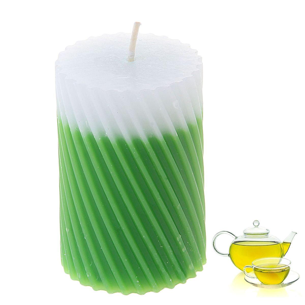 Свеча ароматизированная Sima-land Зеленый чай, высота 7,5 см. 849537849537Свеча Sima-land Зеленый чай выполнена из воска и оформлена резным рельефом. Свеча порадует ярким дизайном и приятным ароматом зеленого чая, который понравится как женщинам, так и мужчинам. Создайте для себя и своих близких незабываемую атмосферу праздника в доме. Ароматическая свеча Sima-land Зеленый чай раскрасит серые будни яркими красками.