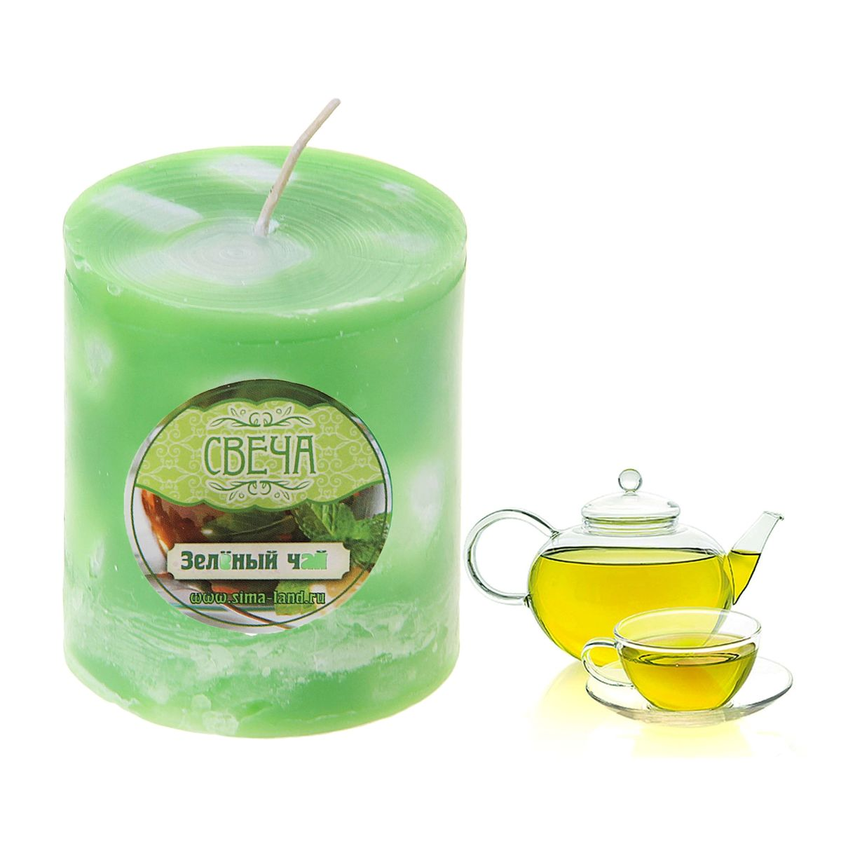 Свеча ароматизированная Sima-land Зеленый чай, высота 7,5 см. 849571U210DFСвеча Sima-land Зеленый чай выполнена из воска в виде столбика. Свеча порадует ярким дизайном и насыщенным ароматом зеленого чая, который понравится как женщинам, так и мужчинам. Создайте для себя и своих близких незабываемую атмосферу праздника в доме. Ароматическая свеча Sima-land Зеленый чай раскрасит серые будни яркими красками.