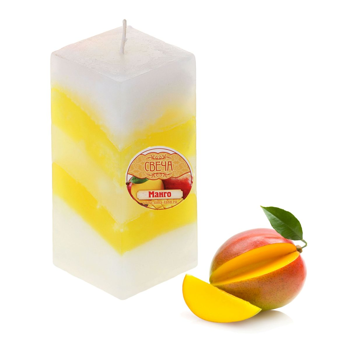 Свеча ароматизированная Sima-land Манго, высота 10 см. 849583ES-412Свеча ароматизированная Sima-land Манго выполнена из воска и оформлена в виде столбика. Свеча отличается ярким дизайном и сочным ароматом манго, который понравится как женщинам, так и мужчинам. Создайте для себя и своих близких не забываемую атмосферу праздника и уюта в доме. Свеча будет радовать свежим ароматом и раскрасит серые будни яркими красками.