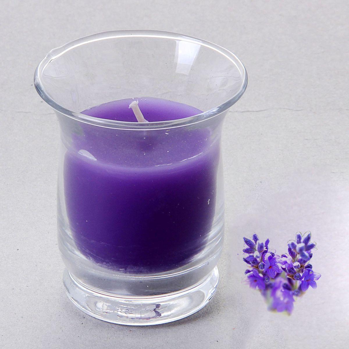 Свеча ароматизированная Sima-land Романтика, с ароматом лаванды, цвет: сиреневый, высота 7,5 см фонтант sima land летняя прохлада колодец