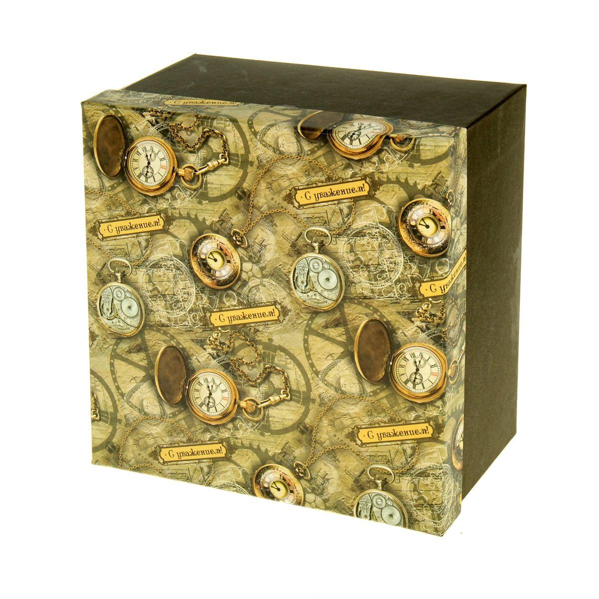 Подарочная коробка Sima-land Часы, 20 х 20 х 11,5 см55052Подарочная коробка Sima-land Часы выполнена из плотного картона. Крышка оформлена ярким изображением часов и надписью С уважением!.Подарочная коробка - это наилучшее решение, если вы хотите порадовать вашихблизких и создать праздничное настроение, ведь подарок, преподнесенный воригинальной упаковке, всегда будет самым эффектным и запоминающимся.Окружите близких людей вниманием и заботой, вручив презент в нарядном,праздничном оформлении.