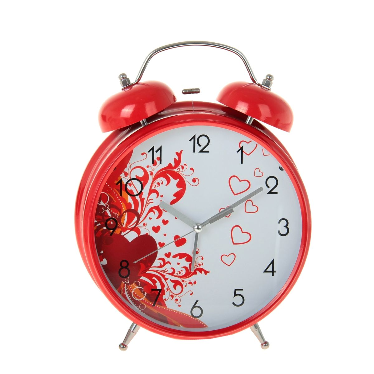 Часы-будильник Sima-land Ажурные сердцаFA-2416 MT.GreyКак же сложно иногда вставать вовремя! Всегда так хочется поспать еще хотя бы 5 минут и бывает, что мы просыпаем. Теперь этого не случится! Яркий, оригинальный будильник Sima-land Ажурные сердца поможет вам всегда вставать в нужное время и успевать везде и всюду.Корпус будильника выполнен из металла. Циферблат имеет индикацию арабскими цифрами. Часы снабжены 4 стрелками (секундная, минутная, часовая и для будильника). На задней панели будильника расположен переключатель включения/выключения механизма, а также два колесика для настройки текущего времени и времени звонка будильника. Также будильник оснащен кнопкой, при нажатии которой подсвечивается циферблат.Пользоваться будильником очень легко: нужно всего лишь поставить батарейки, настроить точное время и установить время звонка. Необходимо докупить 3 батарейки типа АА (не входят в комплект).