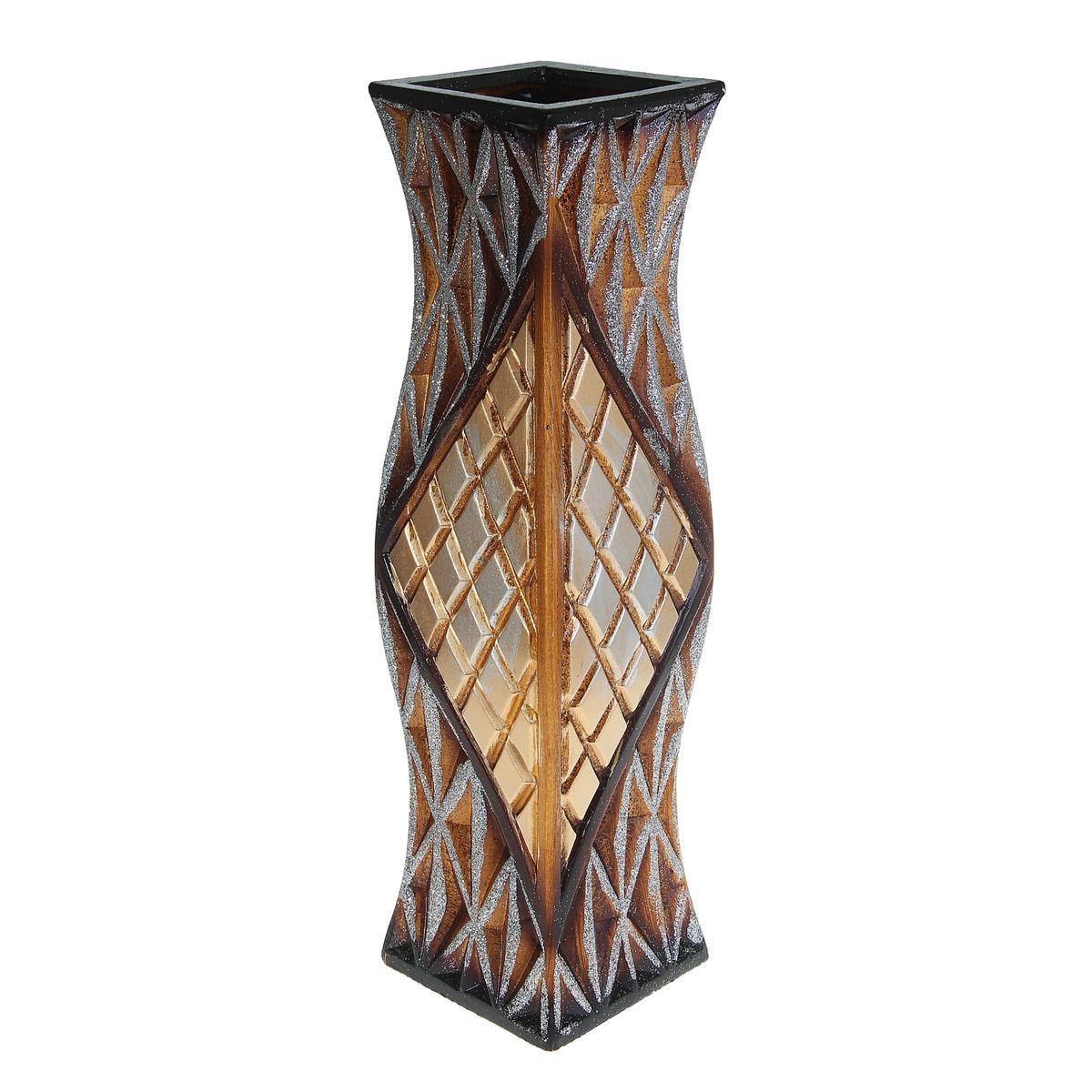 Ваза напольная Ромбы, цвет: коричневый, высота 60 см. 913778FS-91909Керамика