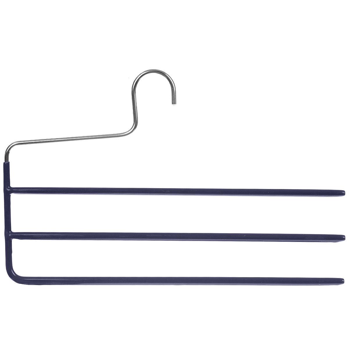 Вешалка для брюк Cosatto, цвет: темно-синий3310_салатовыйВешалка для брюк Cosatto изготовлена из металла с антискользящим покрытием. Имеет 3 перекладины для брюк. Вешалка - это необходимый аксессуар для аккуратного хранения вещей.