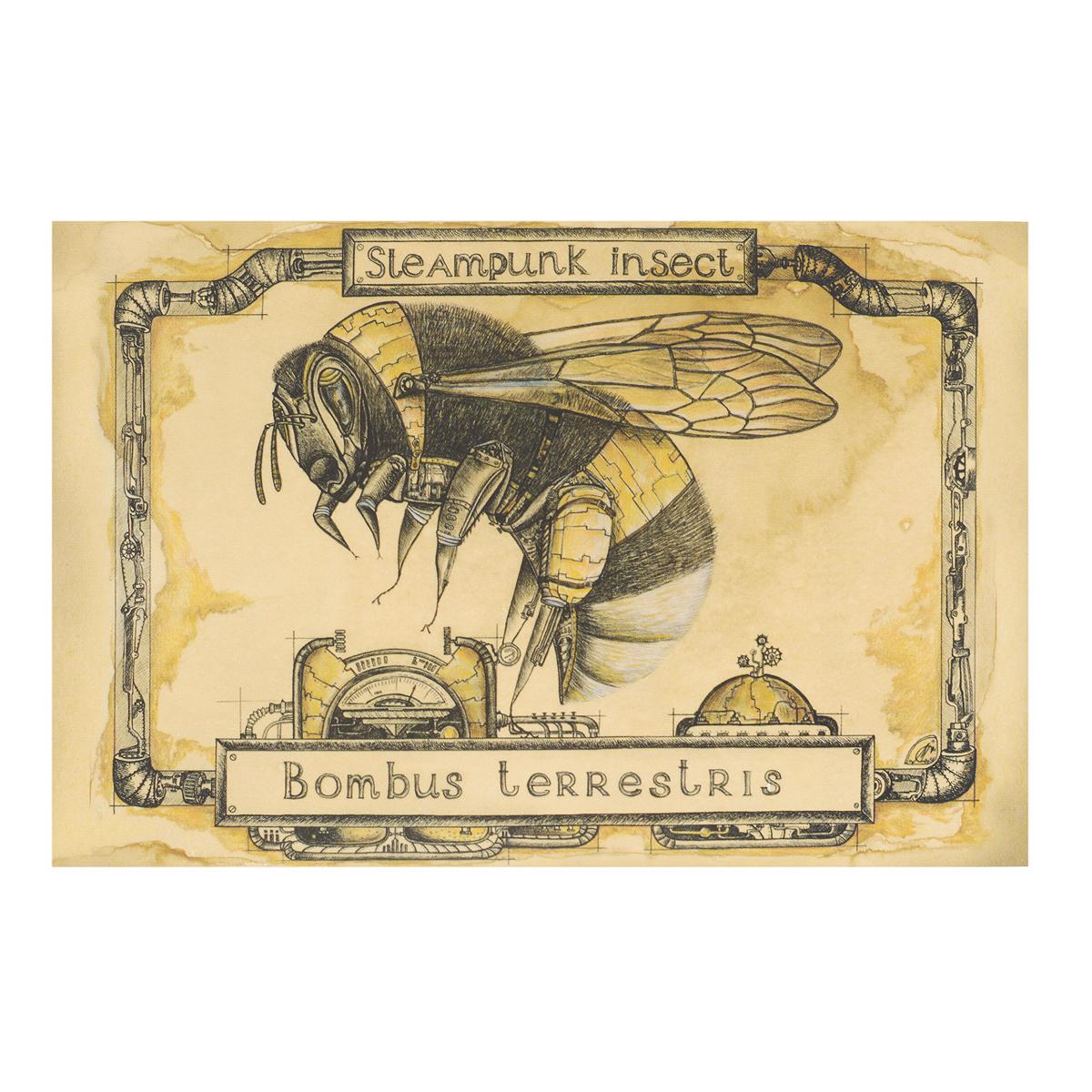 Открытка Steampunk Insect. Шмель. Автор Мария СкородумоваБрелок для ключейОригинальная дизайнерская открытка Шмель из серии Steampunk Insect выполнена из плотного матового картона. На лицевой стороне расположена репродукция картины художницы Марии Скородумовой.Такая открытка станет великолепным дополнением к подарку или оригинальным почтовым посланием, которое, несомненно, удивит получателя своим дизайном и подарит приятные воспоминания.
