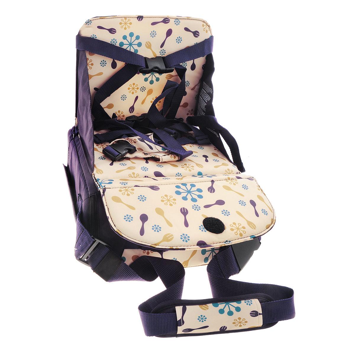 """Дорожный детский стульчик """"Munchkin"""" - незаменимая вещь в дороге или в гостях, если вы решили покормить малыша, а под рукой нет детского стульчика. Это компактный стульчик для кормления, предназначенный для детей весом до 15 кг, подходит для любого обычного стула со спинкой и легко трансформируется в дорожную сумочку. Детский стульчик легко крепится к стулу при помощи текстильных ремней, регулируемых по длине и защелкивающихся на карабины. Стульчик регулируется по высоте с помощью ножек. Под сиденьем расположен внутренний вместительный карман, в котором можно хранить детские столовые принадлежности, салфетки или другие необходимые вещи."""