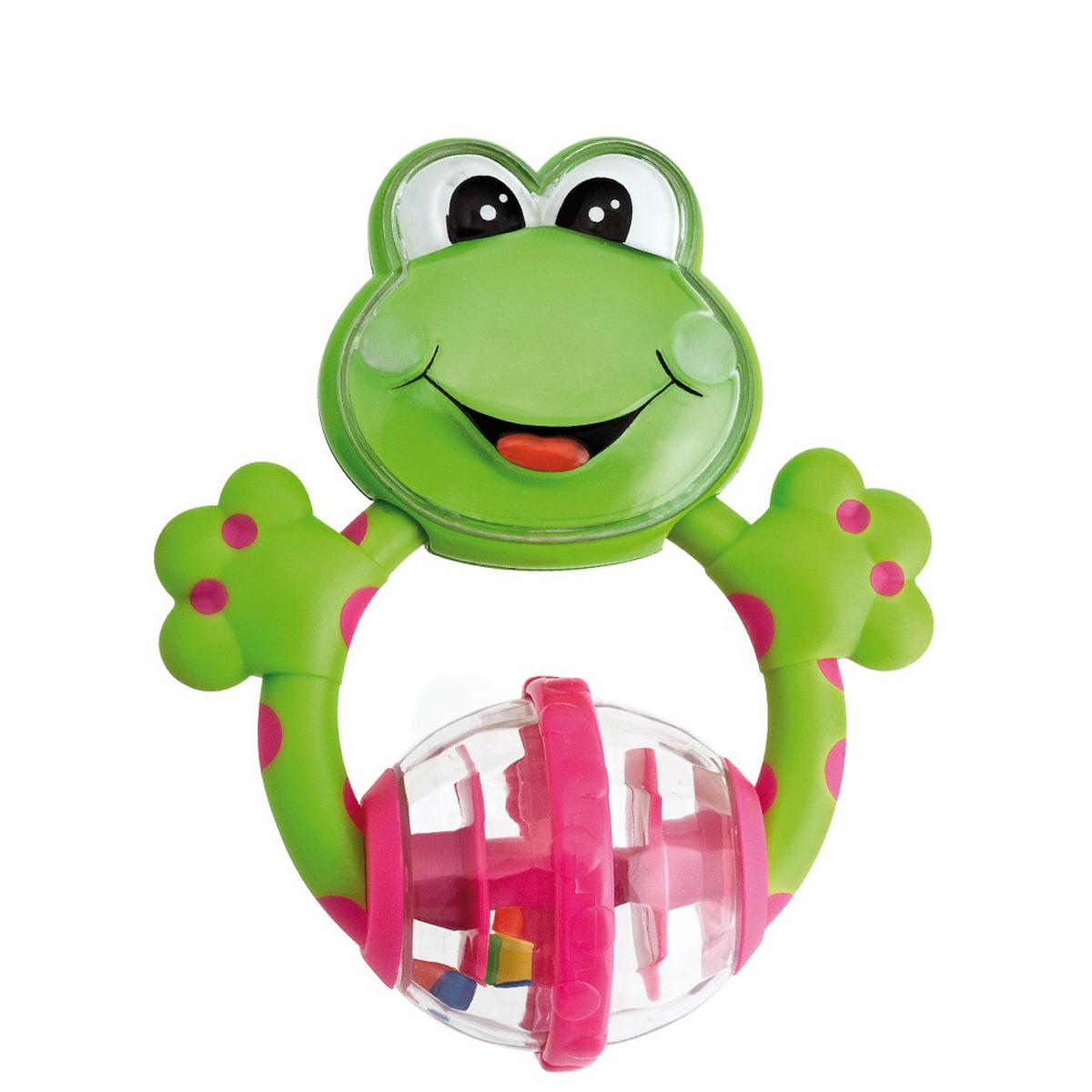 """Яркая игрушка-погремушка """"Лягушка"""" не оставит Вашего малыша равнодушным и не позволит ему скучать! Игрушка представляет собой лягушонка, в животе которого расположен вращающийся пластмассовый прозрачный шар с разноцветными шариками внутри, выполняющими роль погремушки. Яркие цвета игрушки и различные поверхности материалов направлены на развитие мыслительной деятельности, цветовосприятия, тактильных ощущений и мелкой моторики рук ребенка, а элемент погремушки способствует развитию слуха."""