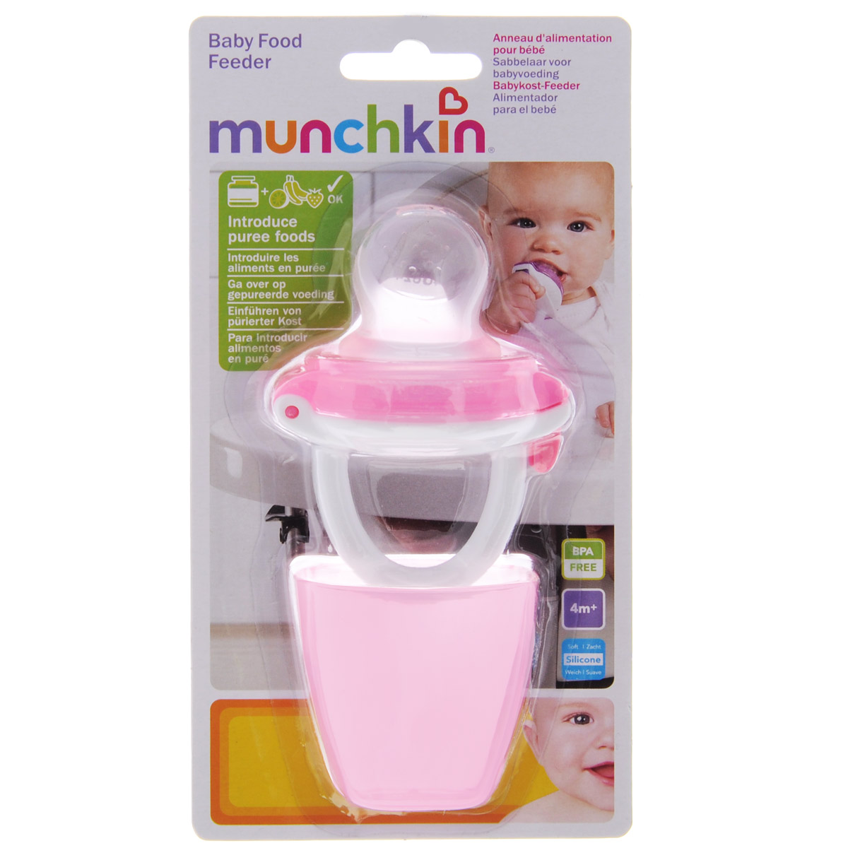 """Ниблер для детского питания """"Munchkin"""" создан специально для безопасного кормления фруктами и овощами, соответствующими возрасту ребенка. Ваш малыш будет наслаждаться натуральным вкусом, структурой и высоким качеством свежих продуктов безопасно, без риска удушья - а вы получите душевное спокойствие! Кроме того, ниблер оснащен надежной системой запирания. Прост в использовании: просто откройте верхнюю часть емкости и поместите продукты в соску. В комплекте крышка-футляр, чтобы вы могли использовать ниблер на прогулке и в других ситуациях, когда вы находитесь не дома. Подходит для кормления в период прорезывании зубов и очень удобен для малыша и его маленьких ручек."""