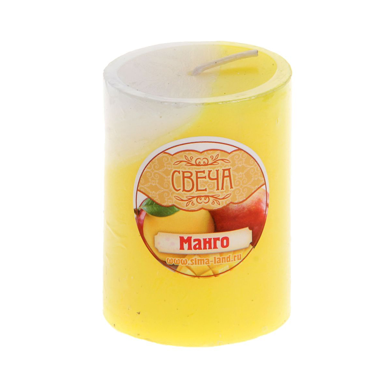 Свеча ароматизированная Sima-land Манго, высота 6 смБрелок для ключейСвеча Sima-land Манго выполнена из воска в виде столбика. Свеча порадует ярким дизайном и сочным ароматом манго, который понравится как женщинам, так и мужчинам. Создайте для себя и своих близких незабываемую атмосферу праздника в доме. Ароматическая свеча Sima-land Манго раскрасит серые будни яркими красками.