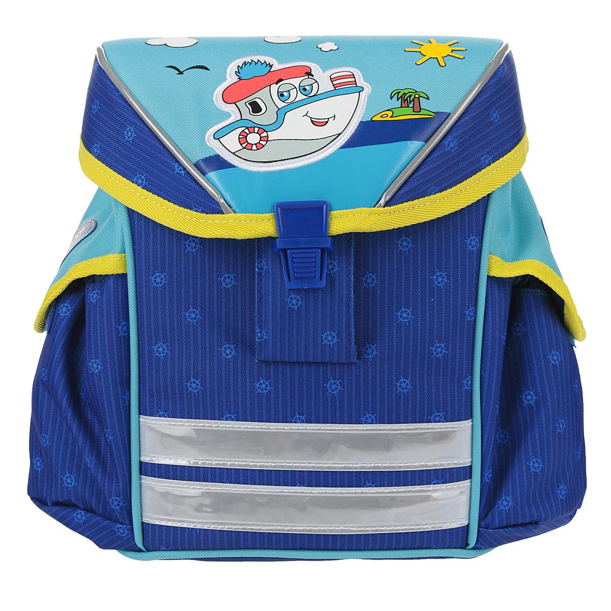 Мини-ранец Artberry Кораблик, цвет: синий, голубой72523WDМини-ранец Artberry Кораблик обязательно понравится вашему ребенку. Выполнен из высококачественных, износостойких материалов с водоотталкивающей пропиткой и оформлен изображением веселого кораблика.Содержит одно вместительное отделение, закрывающееся клапаном на застежку-защелку. Внутри отделения имеется открытый небольшой кармашек. Мини-ранец имеет два накладных боковых кармана на липучке. Спинка ранца достаточно твердая, что способствует равномерному распределению нагрузки и формированию правильной осанки. Ранец оснащен регулируемыми по длине плечевыми ремнями и дополнен текстильной ручкой для переноски. Светоотражающие элементы обеспечивают дополнительную безопасность в темное время суток.Этот мини-ранец можно использовать для повседневных прогулок, отдыха и спорта, а также как элемент вашего имиджа.Рекомендуемый возраст: от 3 лет.