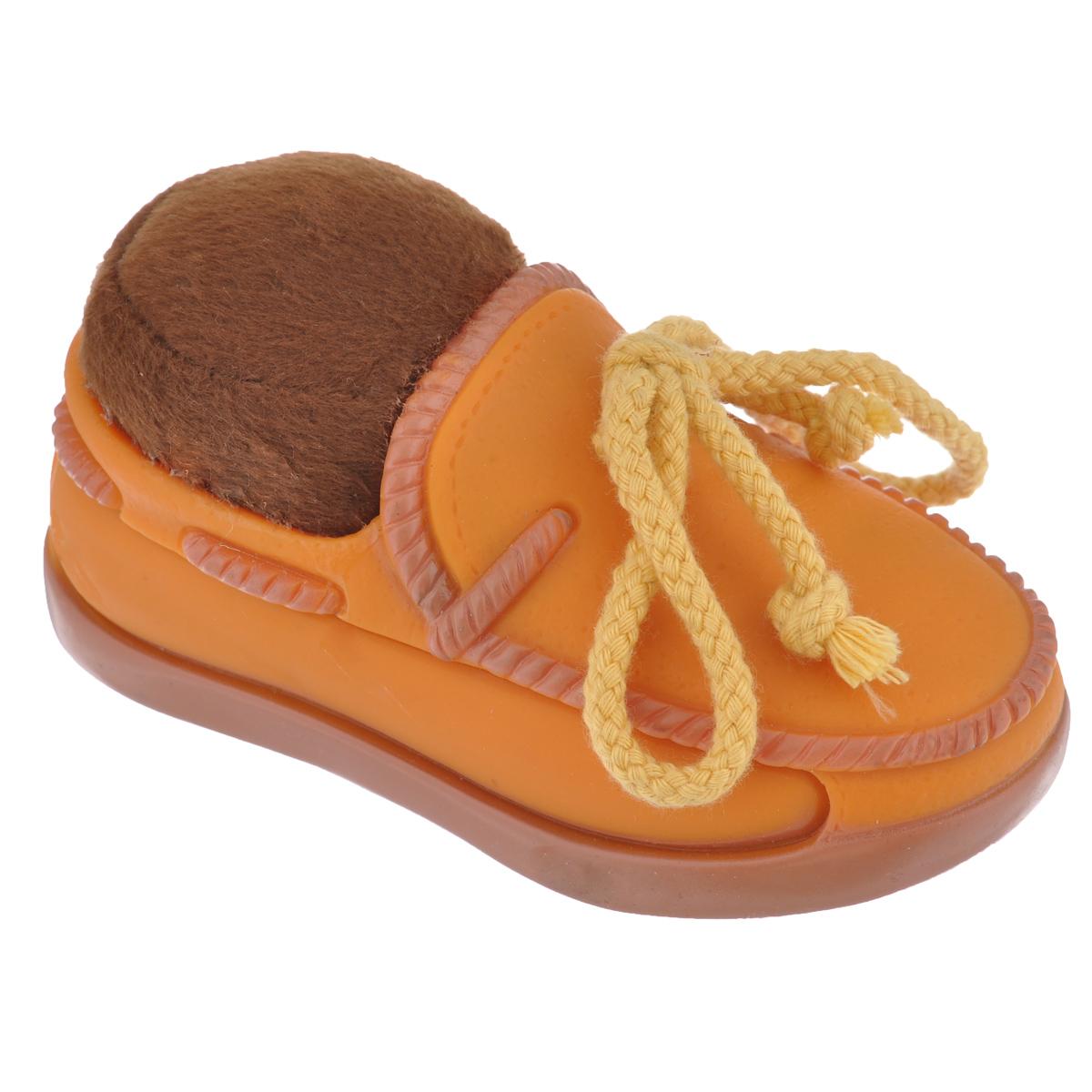 Игрушка для собак Beeztees Изящный ботинок, цвет: оранжевый0120710Игрушка Beeztees Изящный ботинок изготовлена из винила и текстиля, с использованием только безопасных, не токсичных красителей. Великолепно подходит для игры и массажа десен вашей собаки. Такая игрушка порадует вашего любимца, а вам доставит массу приятных эмоций, ведь наблюдать за игрой всегда интересно и приятно.