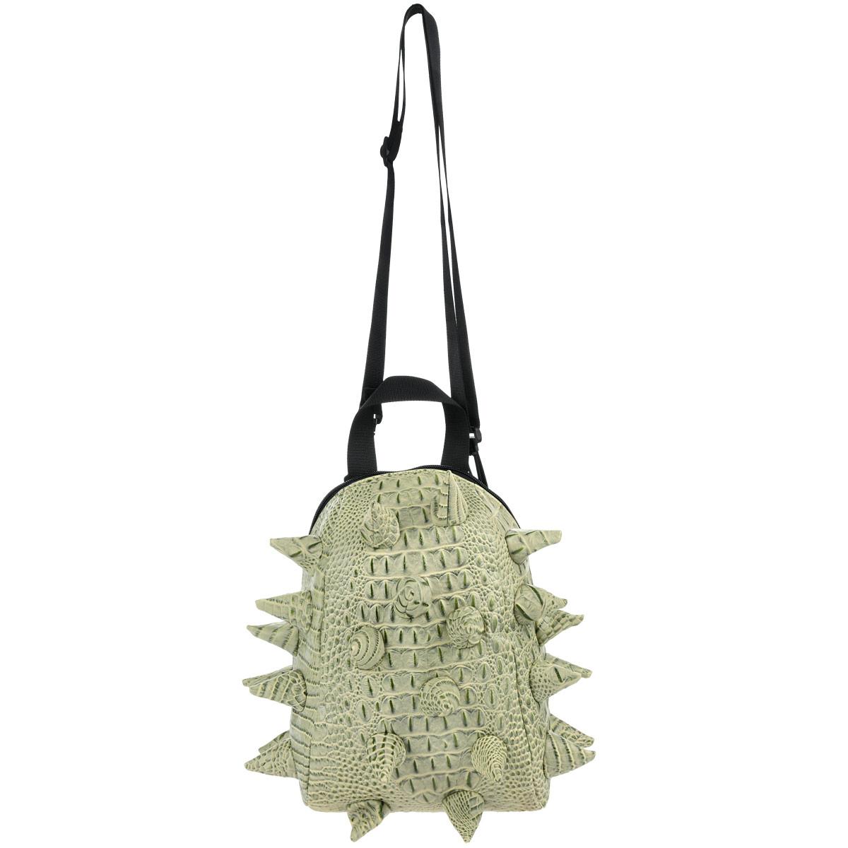 MadPax Рюкзак детский Gator Nibbler цвет салатовый зеленый72523WDДетский рюкзак Gator Nibbler обязательно понравится вашей малышке, и она с удовольствием будет носить в нем любимые вещи или игрушки. Рюкзак сделан из современных полимерных материалов (поливинил) - эффект натуральной, грубо выделанной шкуры рептилии. Поверхность рюкзака декорирована конусообразными вставками из того же материала, что и основная. Рюкзак состоит из одного вместительного отделения на молнии, внутри которого имеется крепление для напитков в виде небольшой боковой перегородки-сетки. На задней стенке рюкзак дополнен небольшим карманом-окошком для контактной информации. К изделию прилагаются мягкие плечевые ремни с несколькими пряжками для надежной фиксации. Рюкзак оснащен ручкой для переноски. Подкладка нейлоновая - рюкзак легко чистится, и сохраняет форму, защищая содержимое.
