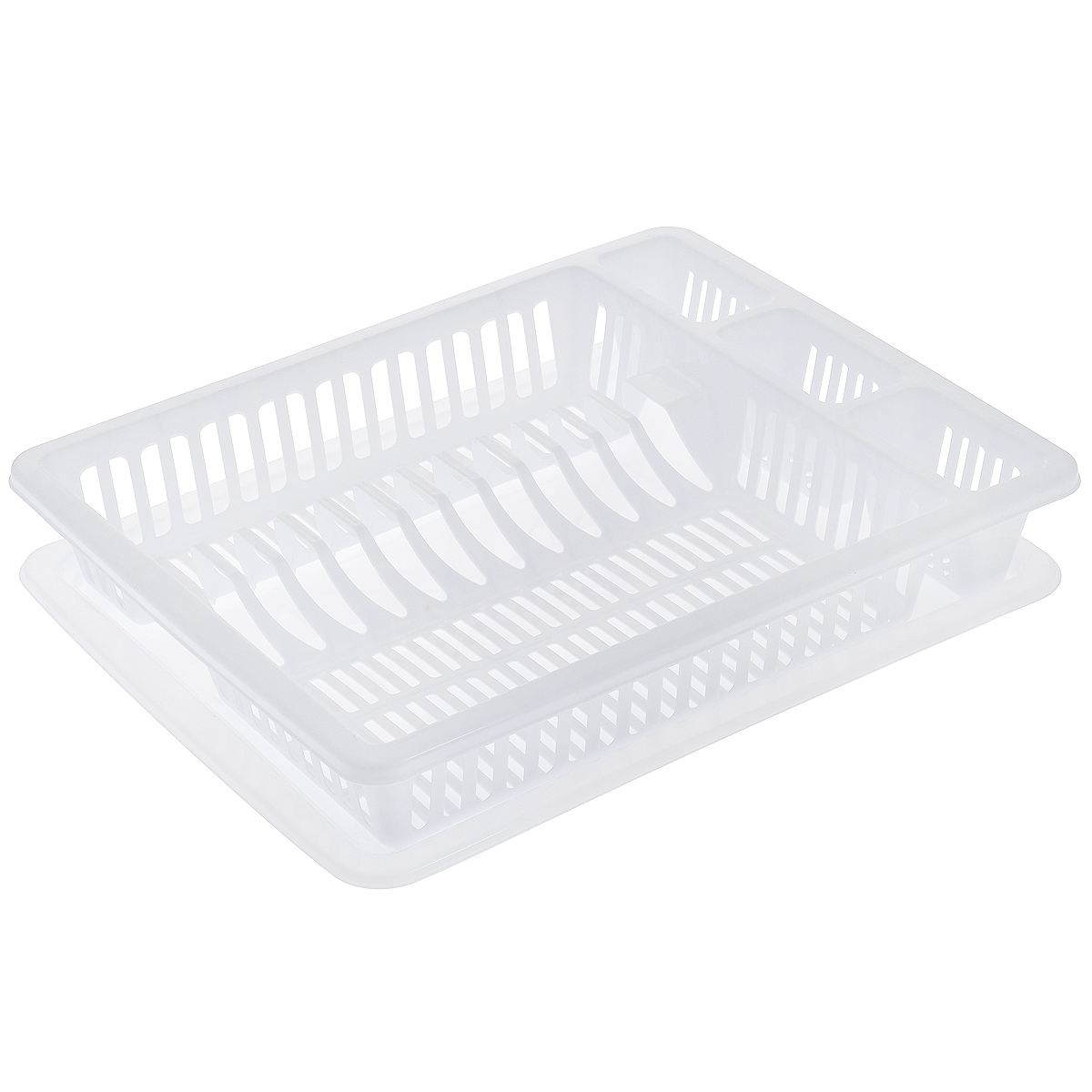 Сушилка для посуды Dunya Plastik, с поддоном, цвет: белый, 46 см х 37 см х 9 см4630003364517Сушилка Dunya Plastik, выполненная из прочного пластика, представляет собой решетку с ячейками, в которые помещается посуда: тарелки, кружки, ложки, ножи. Изделие оснащено пластиковым поддоном для стекания воды. Сушилка Dunya Plastik не займет много места на вашей кухне, а вы сможете разместить на ней большое количество предметов. Компактные размеры и оригинальный дизайн выделяют эту сушку из ряда подобных.