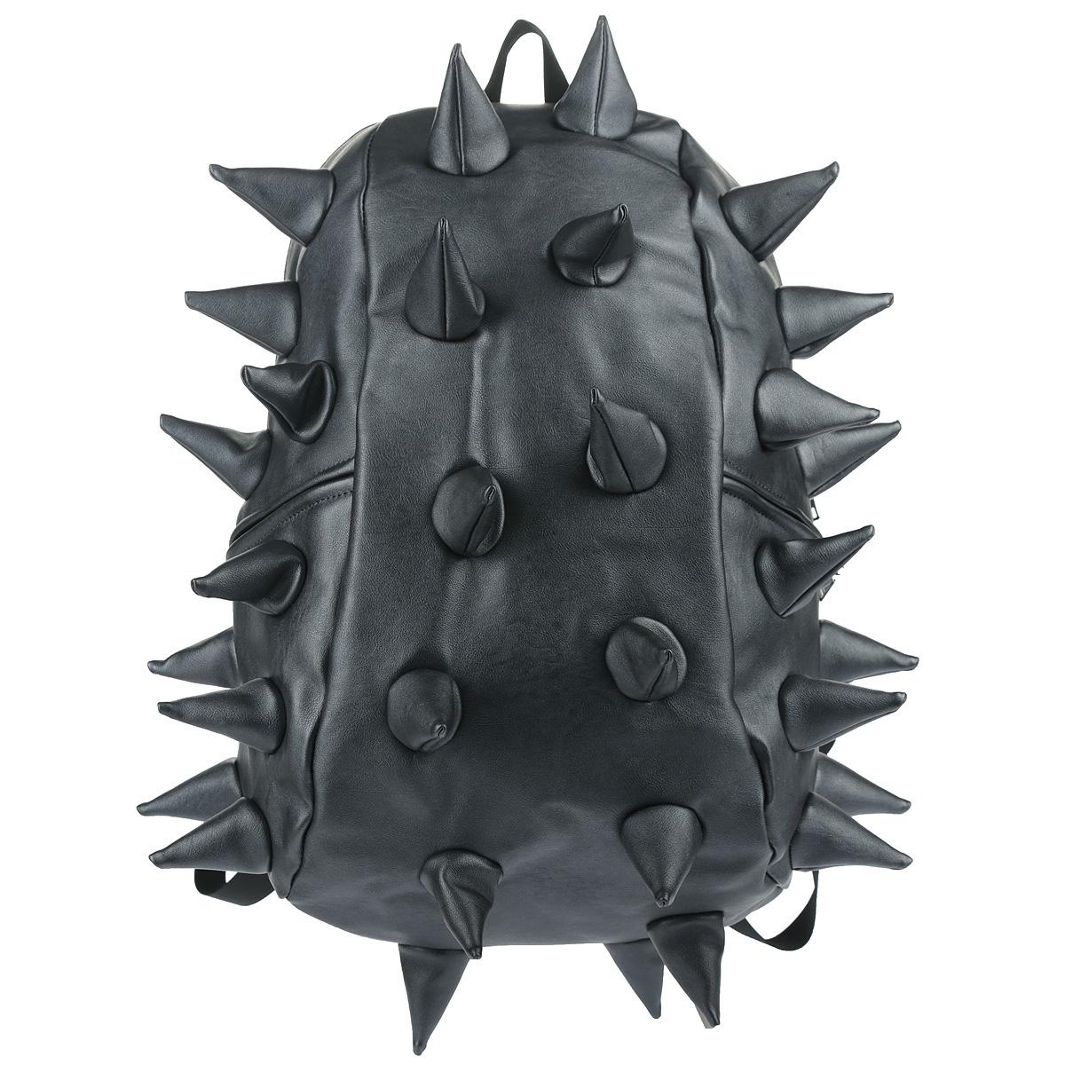 """Рюкзак городской MadPax Rex Full. Heavy Metal Spike, цвет: синий, 27 лKZ24483402Городской рюкзак MadPax Rex Full. Heavy Metal Spike - это стильный и практичный аксессуар, который станет незаменимым в ритме большого города. Верх рюкзака выполнен из 100% полиуретана с эффектом металлического глянца, шипы придают изделию неповторимый дизайн. Подкладка изготовлена из нейлона. Рюкзак имеет одно основное отделение на застежке-молнии. Размер Full позволяет поместить внутрь ноутбук с диагональю экрана 17"""", для этого предусмотрен специальный отдел с мягкими стенками, закрывающийся хлястиком на липучку. Также внутри содержится небольшой карман на молнии. Снаружи по бокам у рюкзака два кармана на молнии для разных мелочей. Сзади расположен кармашек из прозрачного ПВХ для визитки.Модель оснащена ручкой для переноски в руке, а также широкими плечевыми лямками с многослойной структурой, которые можно регулировать по длине. Специальная застежка-крепление соединяет и фиксирует лямки в районе груди, это позволяет равномерно распределить нагрузку на плечи и спину при максимальной загрузке рюкзака. Мягкая ортопедическая спинка создает дополнительный комфорт вашей спине и делает ношение рюкзака более удобным. MadPax - это крутые рюкзаки в стиле фанк, которые своим неповторимым дизайном бросают вызов монотонности и скуке. Эти уникальные рюкзаки помогают детям всех возрастов самовыражаться, а их внутренняя структура с отделениями, карманами и застежками-молниями делает их невероятно практичными."""