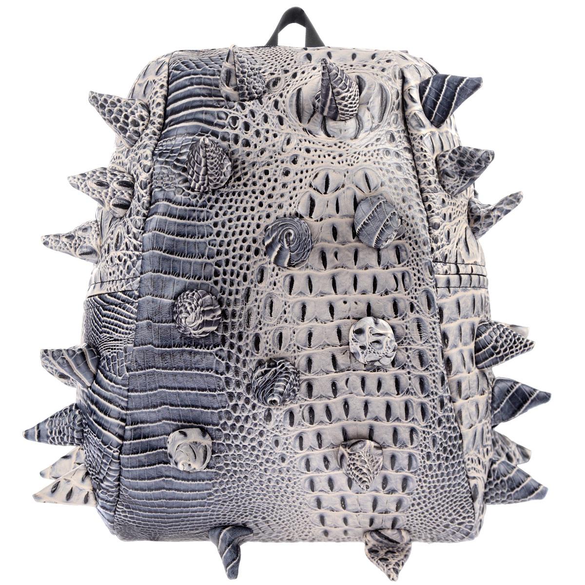 """Рюкзак городской MadPax Gator Half, цвет: коричневый, серый, 16 лРыболовГородской рюкзак MadPax Gator Half - это стильный и практичный аксессуар, уместный в ритме большого города. Верх рюкзака выполнен из 100% поливинила с тиснением под рептилию, шипы придают изделию неповторимый дизайн. Подкладка изготовлена из нейлона. Рюкзак имеет одно основное отделение, которое закрывается на застежку-молнию. Внутри поместится ноутбук с диагональю 13"""", iPad и бумаги формата А4. Также внутри содержится небольшой карман на молнии для мелких вещей. Модель оснащена ручкой для переноски в руке, а также мягкими и широкими плечевыми лямками, которые можно регулировать по длине. Полностью вентилируемая и ортопедическая спинка создает дополнительный комфорт вашей спине. Сзади расположен кармашек из прозрачного ПВХ для визитки. MadPax - это крутые рюкзаки в стиле фанк, которые своим неповторимым дизайном бросают вызов монотонности и скуке. Эти уникальные рюкзаки помогают детям всех возрастов самовыражаться, а их внутренняя структура с отделениями, карманами и застежками-молниями делает их невероятно практичными. Материал: поливинил, нейлон, пластик, металл."""