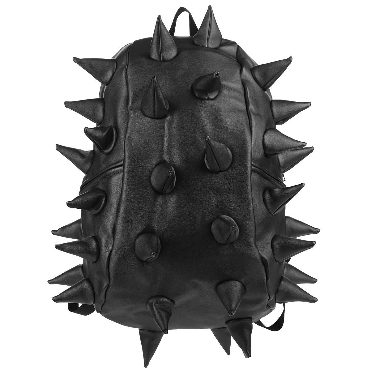 """Рюкзак городской MadPax Rex Full. Heavy Metal Spike, цвет: черный, 27 лRivaCase 8460 aquamarineГородской рюкзак MadPax Rex Full. Heavy Metal Spike - это стильный и практичный аксессуар, который станет незаменимым в ритме большого города. Верх рюкзака выполнен из 100% полиуретана с эффектом металлического глянца, шипы придают изделию неповторимый дизайн. Подкладка изготовлена из нейлона. Рюкзак имеет одно основное отделение на застежке-молнии. Размер Full позволяет поместить внутрь ноутбук с диагональю экрана 17"""", для этого предусмотрен специальный отдел с мягкими стенками, закрывающийся хлястиком на липучку. Также внутри содержится небольшой карман на молнии. Снаружи по бокам у рюкзака два кармана на молнии для разных мелочей. Сзади расположен кармашек из прозрачного ПВХ для визитки.Модель оснащена ручкой для переноски в руке, а также широкими плечевыми лямками с многослойной структурой, которые можно регулировать по длине. Специальная застежка-крепление соединяет и фиксирует лямки в районе груди, это позволяет равномерно распределить нагрузку на плечи и спину при максимальной загрузке рюкзака. Мягкая ортопедическая спинка создает дополнительный комфорт вашей спине и делает ношение рюкзака более удобным. MadPax - это крутые рюкзаки в стиле фанк, которые своим неповторимым дизайном бросают вызов монотонности и скуке. Эти уникальные рюкзаки помогают детям всех возрастов самовыражаться, а их внутренняя структура с отделениями, карманами и застежками-молниями делает их невероятно практичными."""