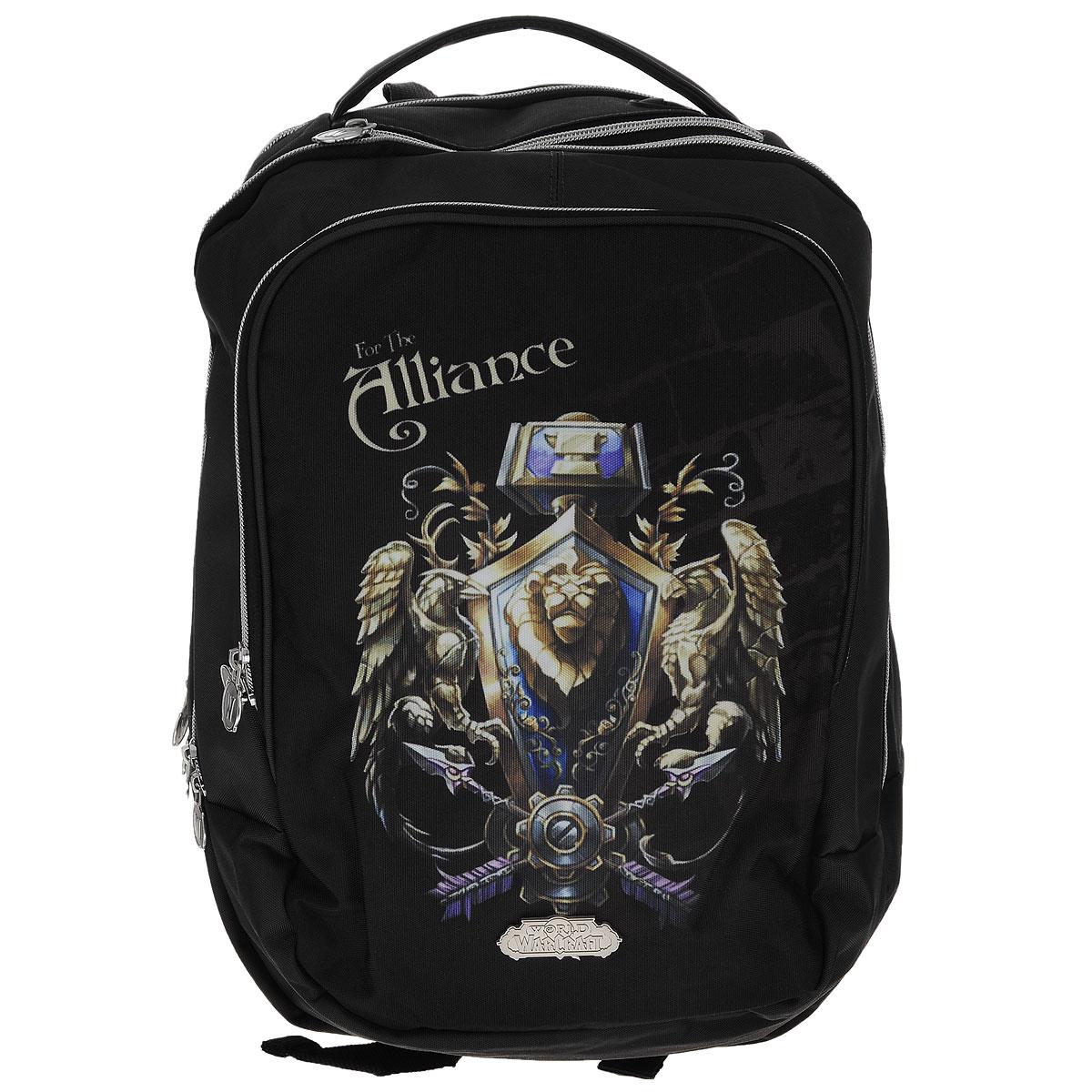 Рюкзак молодежный Proff World of Warcraft, цвет: черный, темно-серый. WC15-BPA-141601.015Рюкзак молодежный Proff WarCraft сочетает в себе современный дизайн, функциональность и долговечность.Он выполнен из водонепроницаемого, морозоустойчивого материла черного и темно-серого цветов. Рюкзак состоит из двух вместительных отделений, закрывающихся на металлические застежки-молнии с двумя бегунками. Внутри отделения ближе к спине находится мягкий карман, закрывающийся хлястиком на липучке, который можно использовать для гаджетов, а также имеется открытый карман. Лицевая сторона рюкзака оснащена накладным карманом на молнии, внутри которого имеются три кармашка для пишущих принадлежностей, два открытых кармашка для мелких предметов и брелок для ключей. Рюкзак оснащен удобной эргономичной ручкой для переноски в руке. Под ручкой расположен специальный карман для плеера с выводом для наушников. Конструкция спинки дополнена двумя эргономичными подушечками, противоскользящей сеточкой и системой вентиляции для предотвращения запотевания спины ребенка. Мягкие широкие лямки позволяют легко и быстро отрегулировать рюкзак в соответствии с ростом.Этот рюкзак можно использовать для школьников, повседневных прогулок, отдыха и спорта, а также как элемент вашего имиджа.Рекомендуемый возраст: от 7 лет.