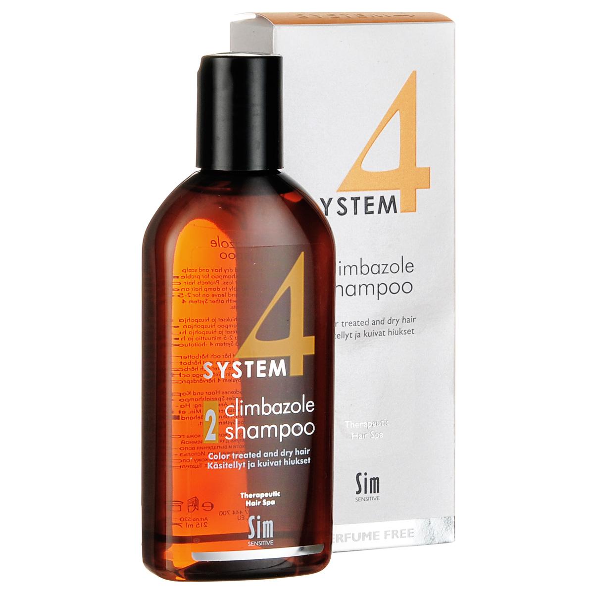 SIM SENSITIVE Терапевтический шампунь № 2 SYSTEM 4 Climbazole Shampoo 2 , 215 мл5302КАК РАБОТАЕТ:салициловая кислота активно очищает кожу головы, предотвращая образование сухой перхоти, а климбазол и пироктон оламин восстанавливают микрофлору кожи головы. Гидролизованные протеины, гидролизованный коллаген, масло подсолнечника ухаживают за сухой кожей головы, поврежденными стержнями волос и продлевают стойкость цвета окрашенных волос. Розмарин и ментол обладают освежающим антибактериальным эффектом, улучшают микроциркуляцию крови. рН-4,7.БОРЕТСЯ С: сухостью кожи головы, зудом, раздражением кожи головы, сухой перхотью, cухостью, ломкостью волос, расслоением стержня волосанепослушностью и поврежденностью волос после окрашивания или химической обработки