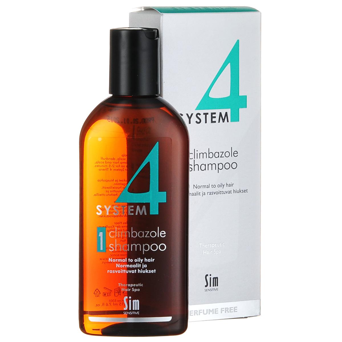 SIM SENSITIVE Терапевтический шампунь № 1 SYSTEM 4 Climbazole Shampoo 1, 215 мл1635629/154511/СТИККАК РАБОТАЕТ:климбазол и пироктон оламин убивают грибок и восстанавливают микрофлоры кожи головы. Салициловая кислота активно очищает кожуголовы, ундециленовая кислота нормализует работу сальных желез.Рапсовое масло увлажняет кожу головы, не засаливая ее, так что волосы дольше сохраняют свежесть. Розмарин и ментол охлаждают и успокаивают, а гидролизованный коллаген активизирует обменныепроцессы в коже головы. БОРЕТСЯ С: зудом и раздражением кожи головыизбыточным выделением кожного сала (себореей) перхотью